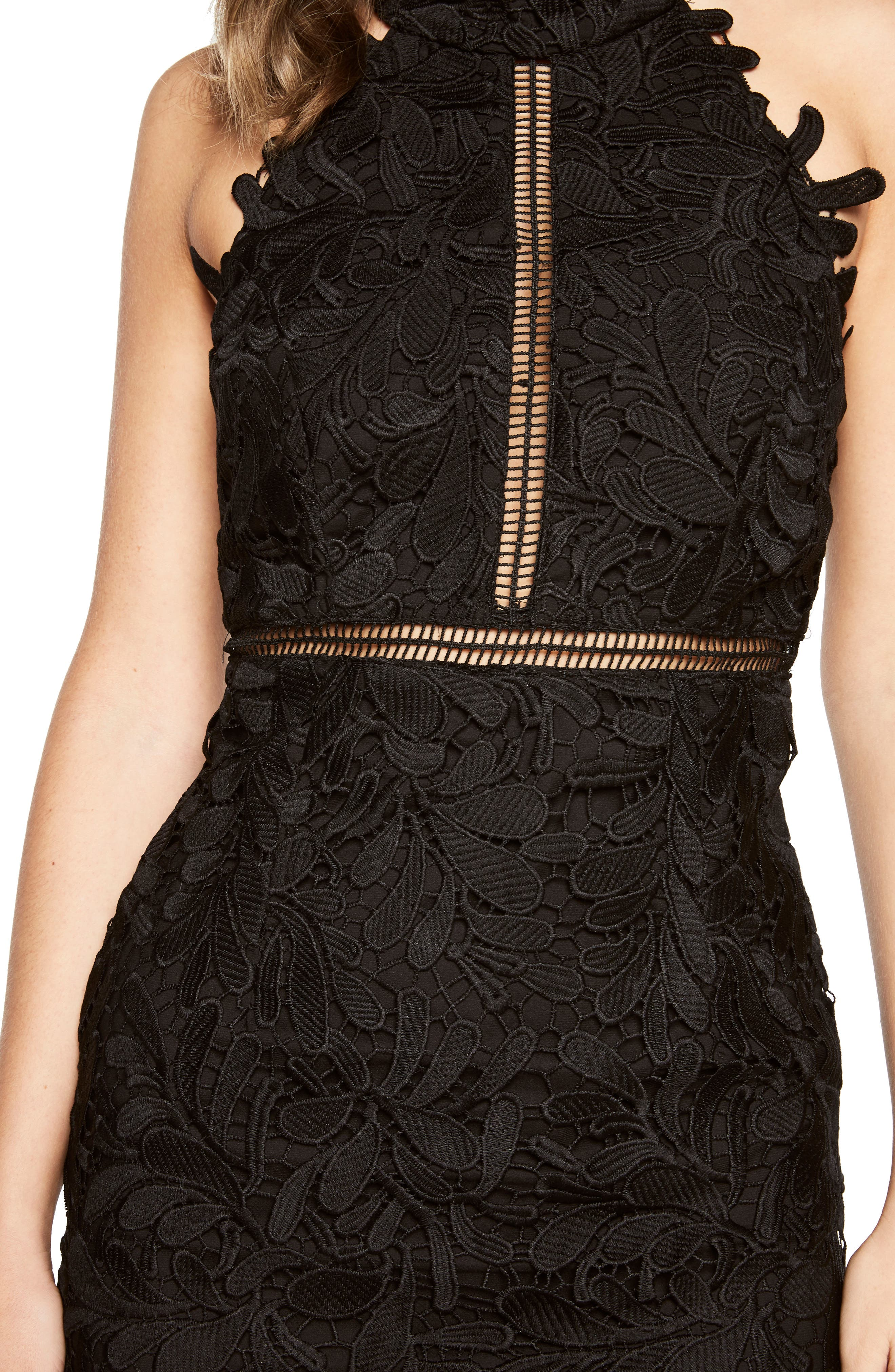 Kara Lace Halter Dress,                             Alternate thumbnail 4, color,                             001