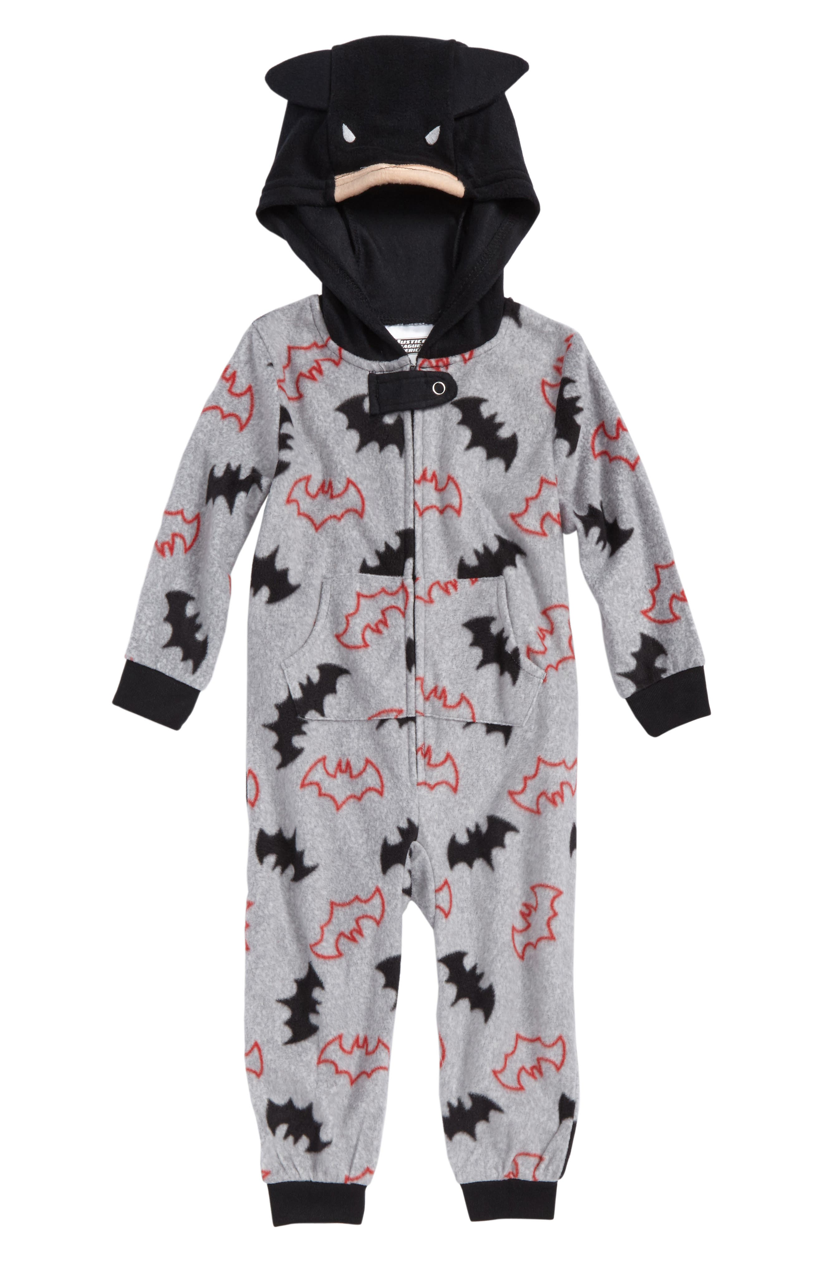 Batman Microfleece One-Piece Pajamas,                         Main,                         color, 068