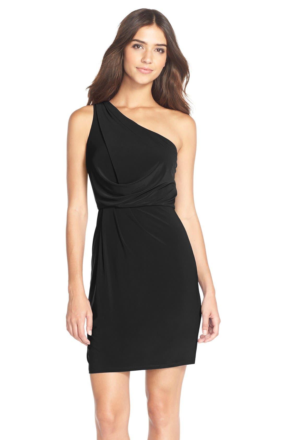 One-Shoulder Jersey Blouson Dress,                         Main,                         color, 001