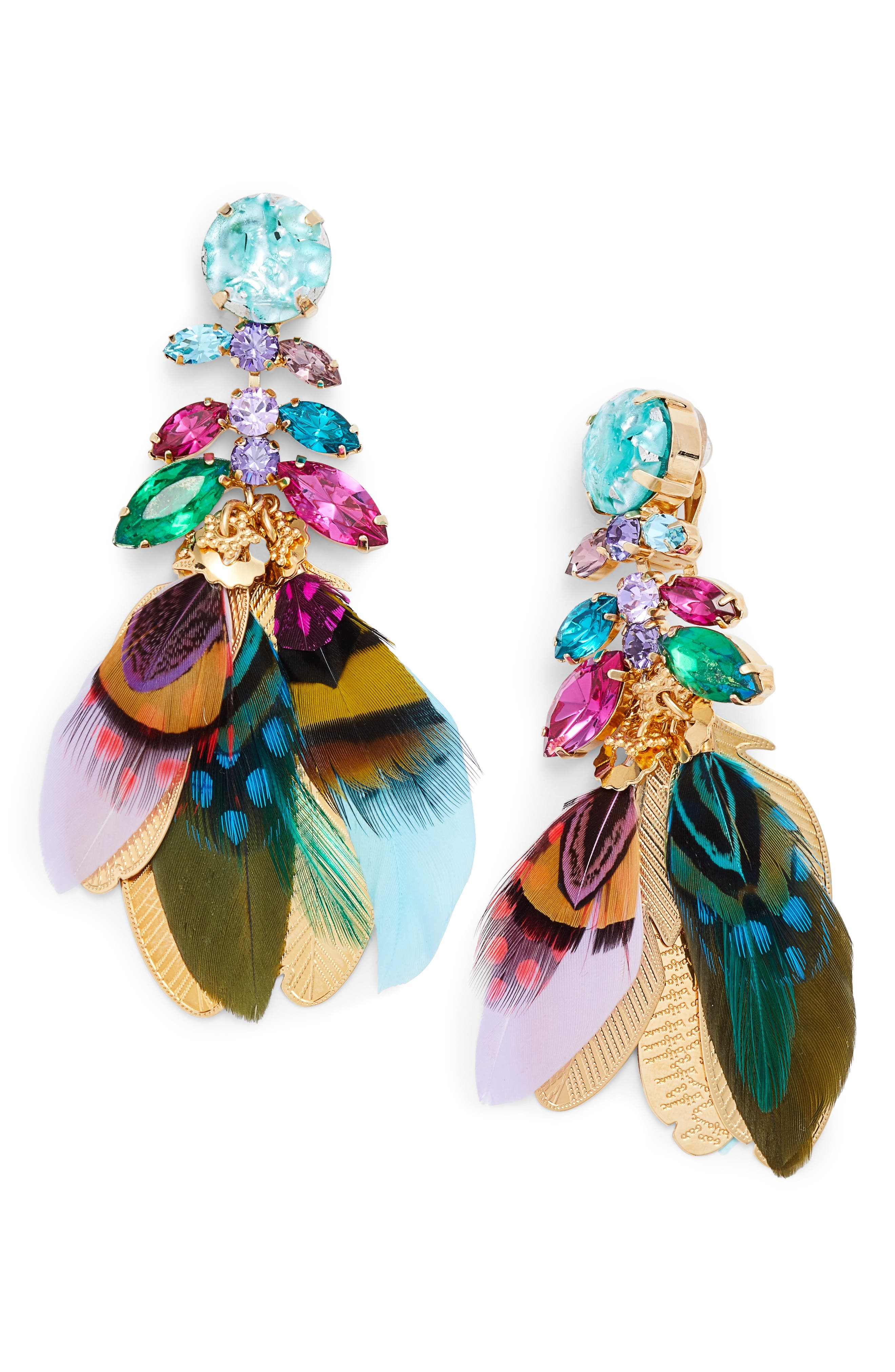 Cabaret Clip-On Feather Drop Earrings,                         Main,                         color, 400