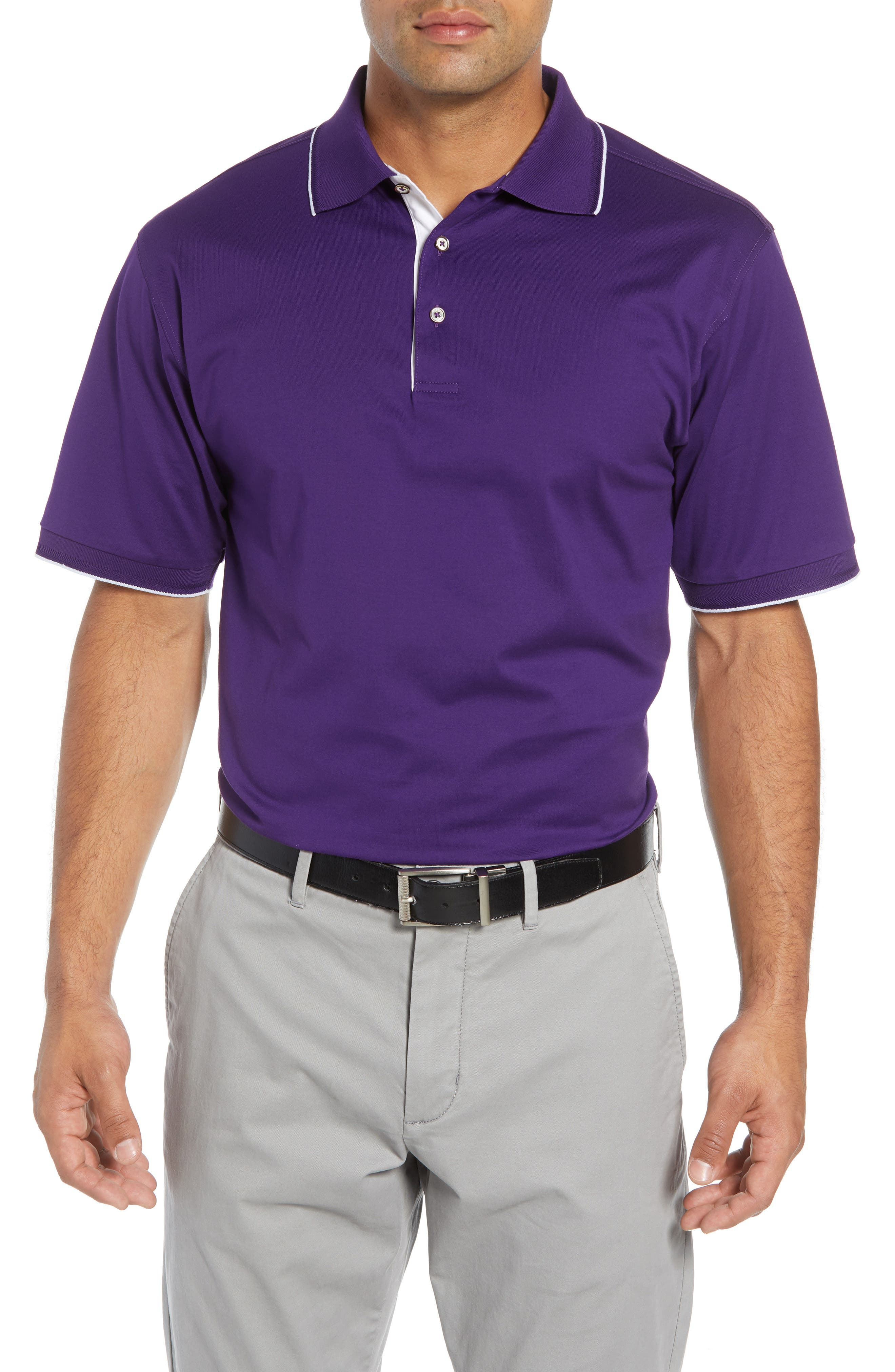 BOBBY JONES Solid Tipped Polo in Purple