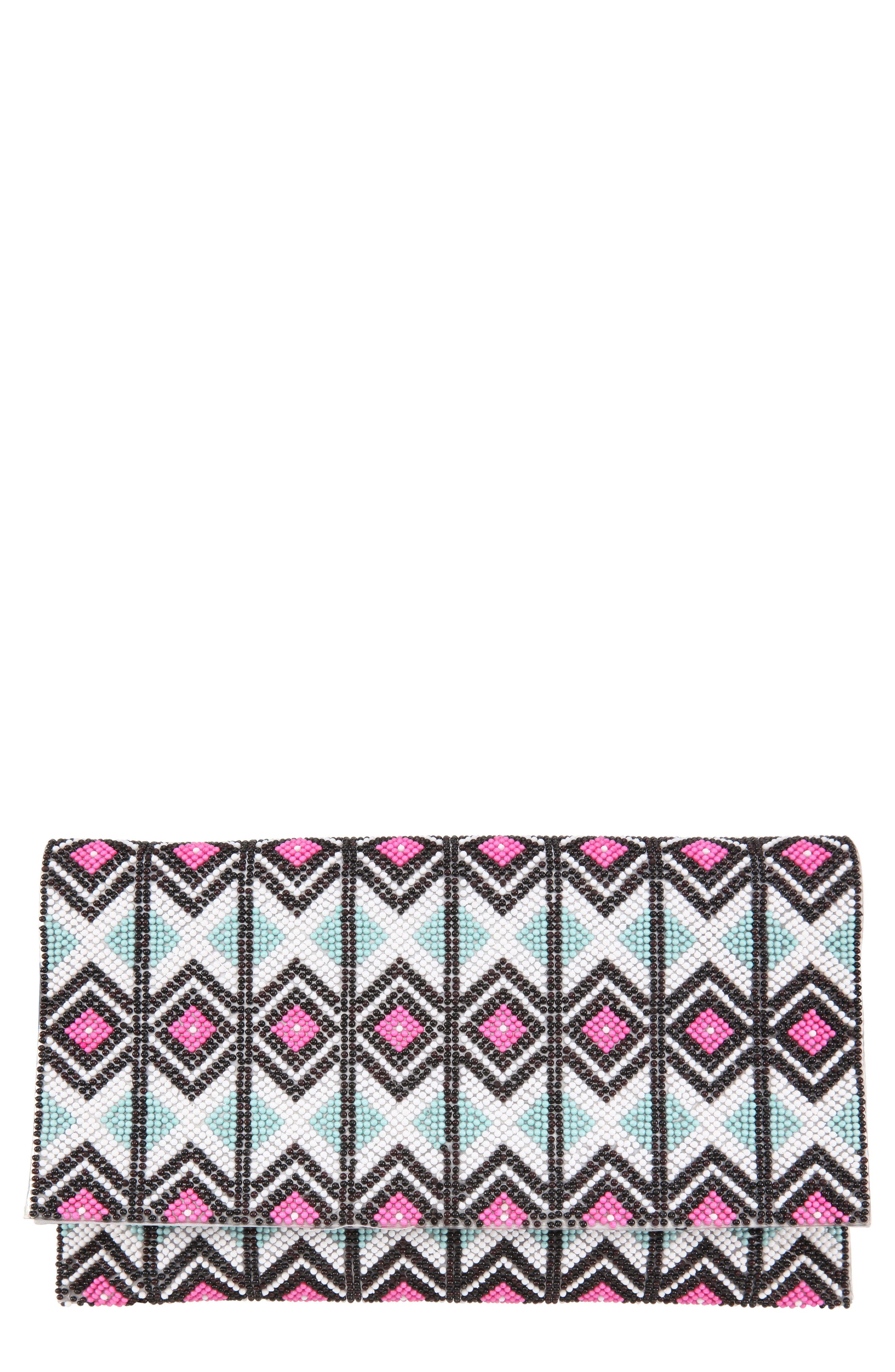 Geometric Beaded Clutch,                             Main thumbnail 1, color,                             BLACK MULTI
