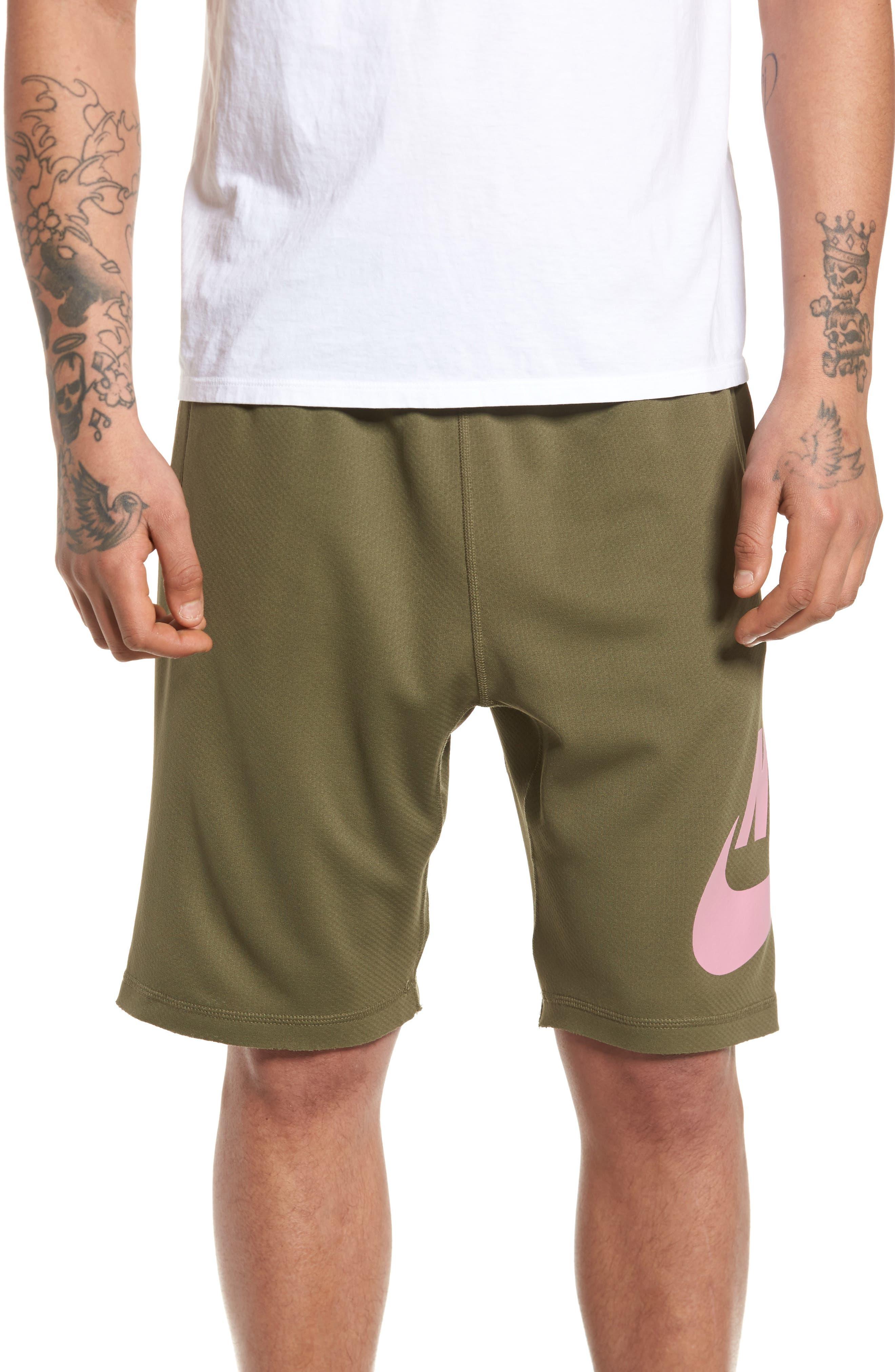 Sunday Dri-FIT Shorts,                         Main,                         color, MEDIUM OLIVE/ ELEMENTAL PINK