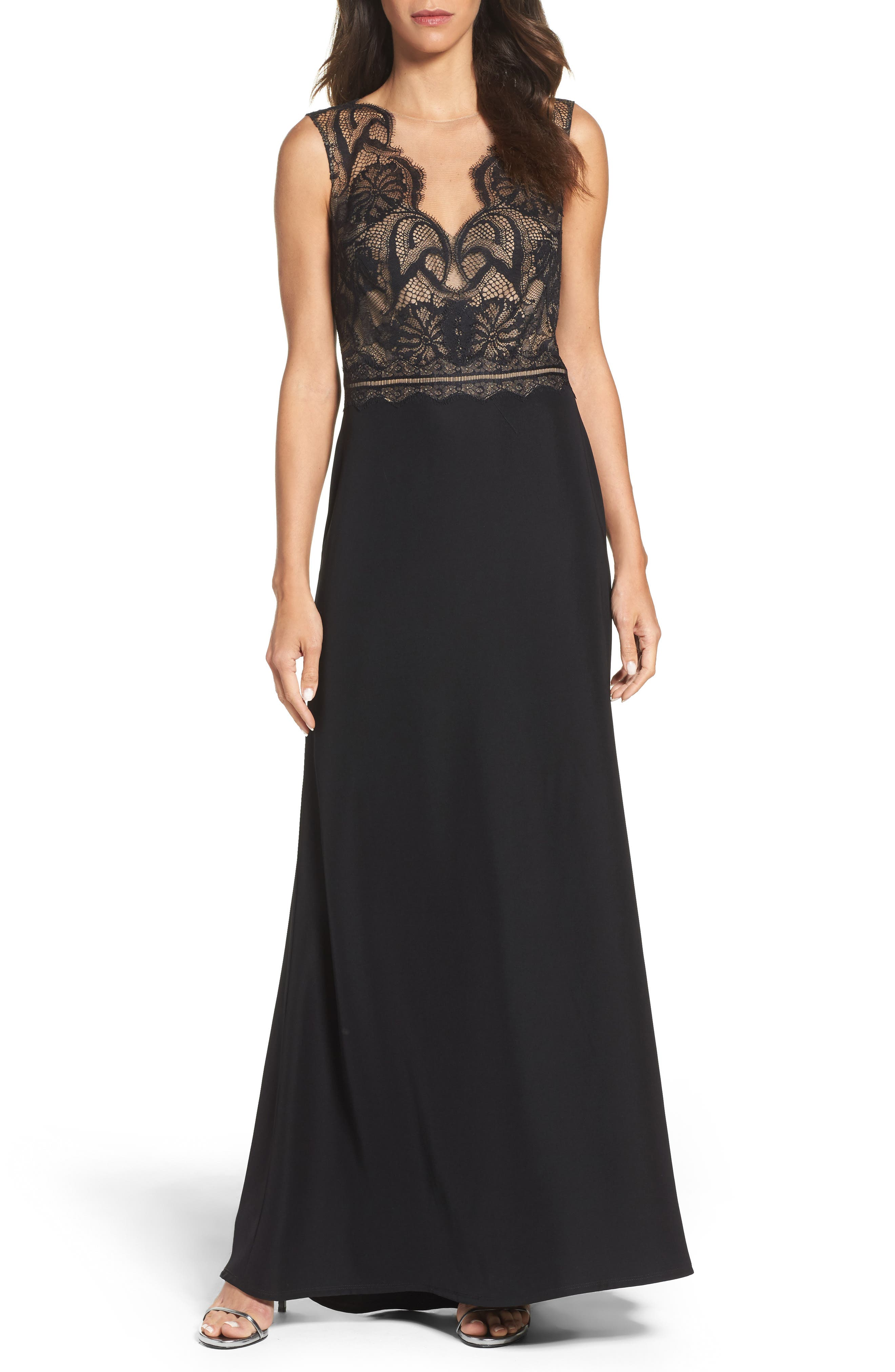 Lace & Crepe Gown,                         Main,                         color, 004
