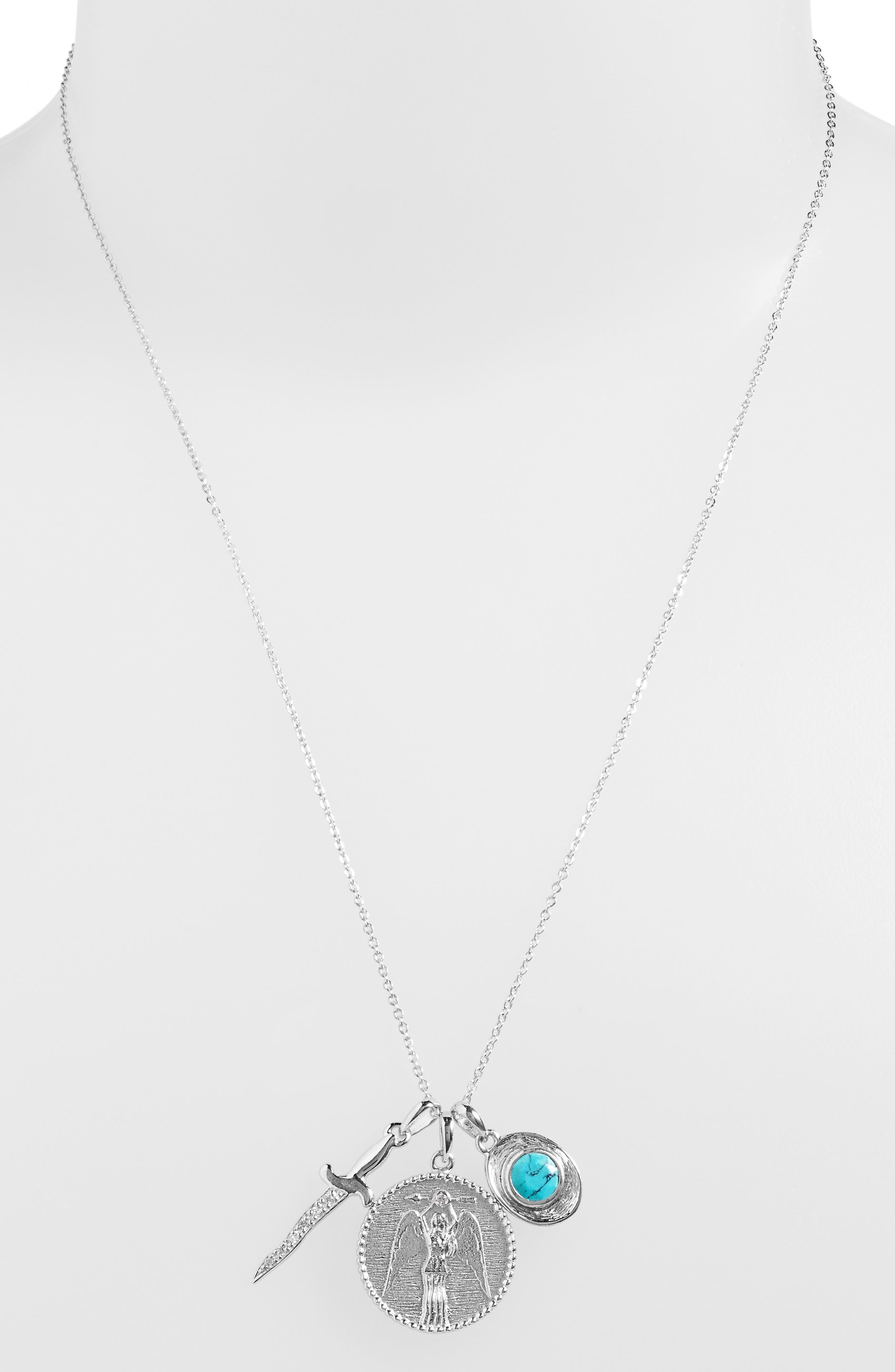 Goddess of Strength Cluster Pendant Necklace,                             Alternate thumbnail 5, color,