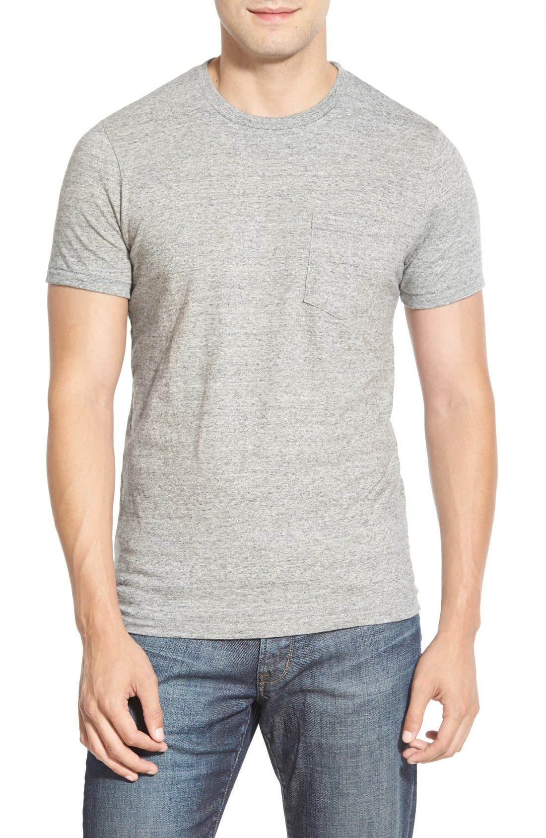 Double Face Jersey Pocket Crewneck T-Shirt,                         Main,                         color, ANTI-GREY HEATHER