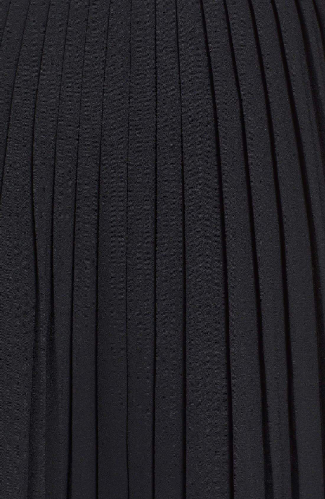 pleated crepe midi skirt,                             Alternate thumbnail 3, color,