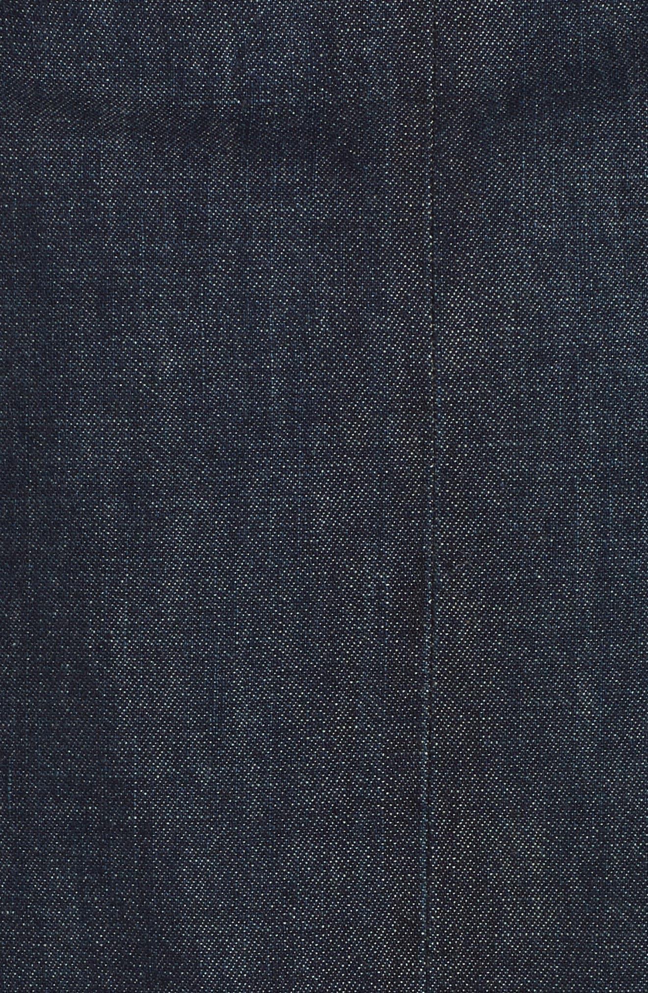 Denim Midi Skirt,                             Alternate thumbnail 5, color,                             DARK INDIGO