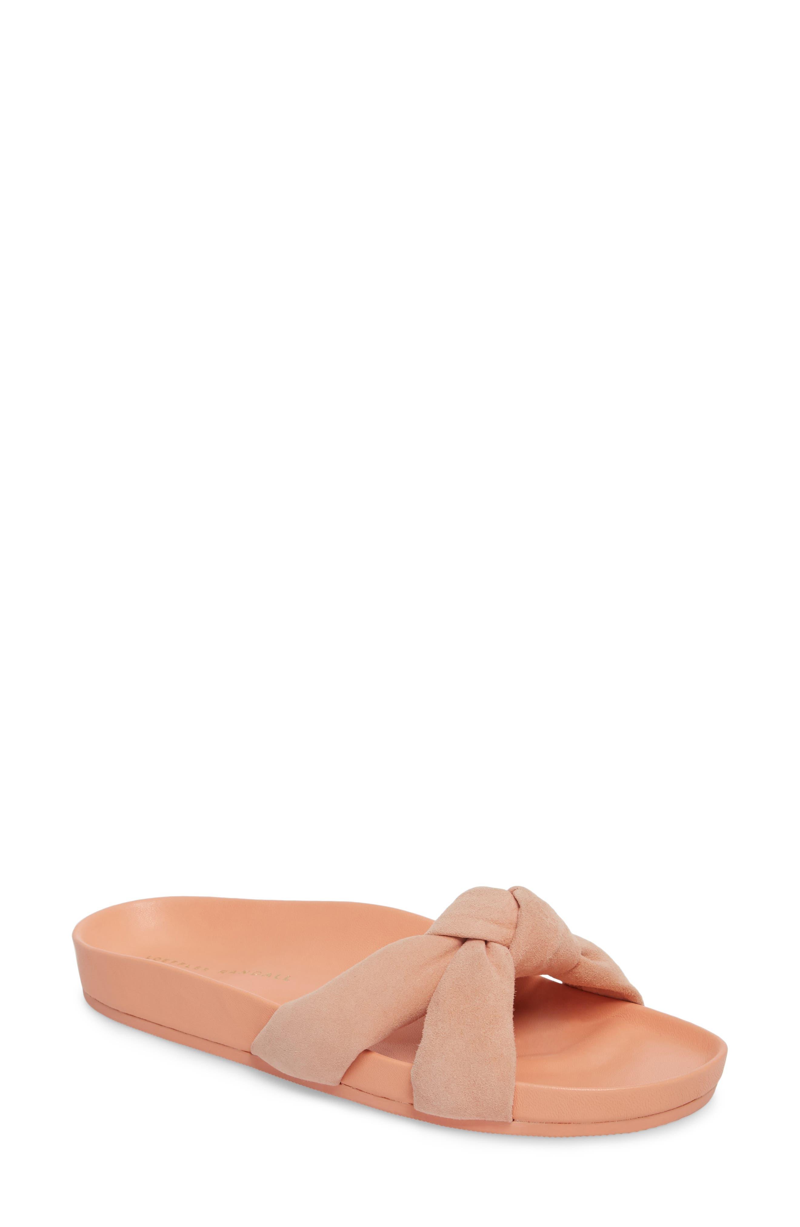 Gertie Knotted Slide Sandal,                             Main thumbnail 1, color,                             MELON