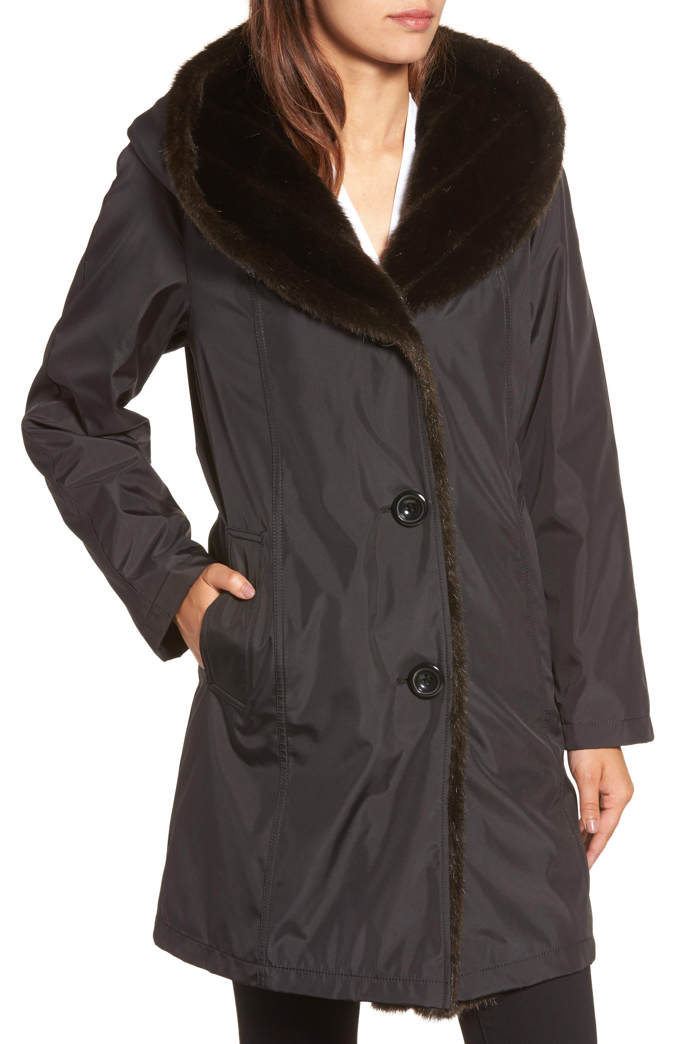 Storm Coat with Faux Fur Trim & Lining,                             Alternate thumbnail 4, color,                             001