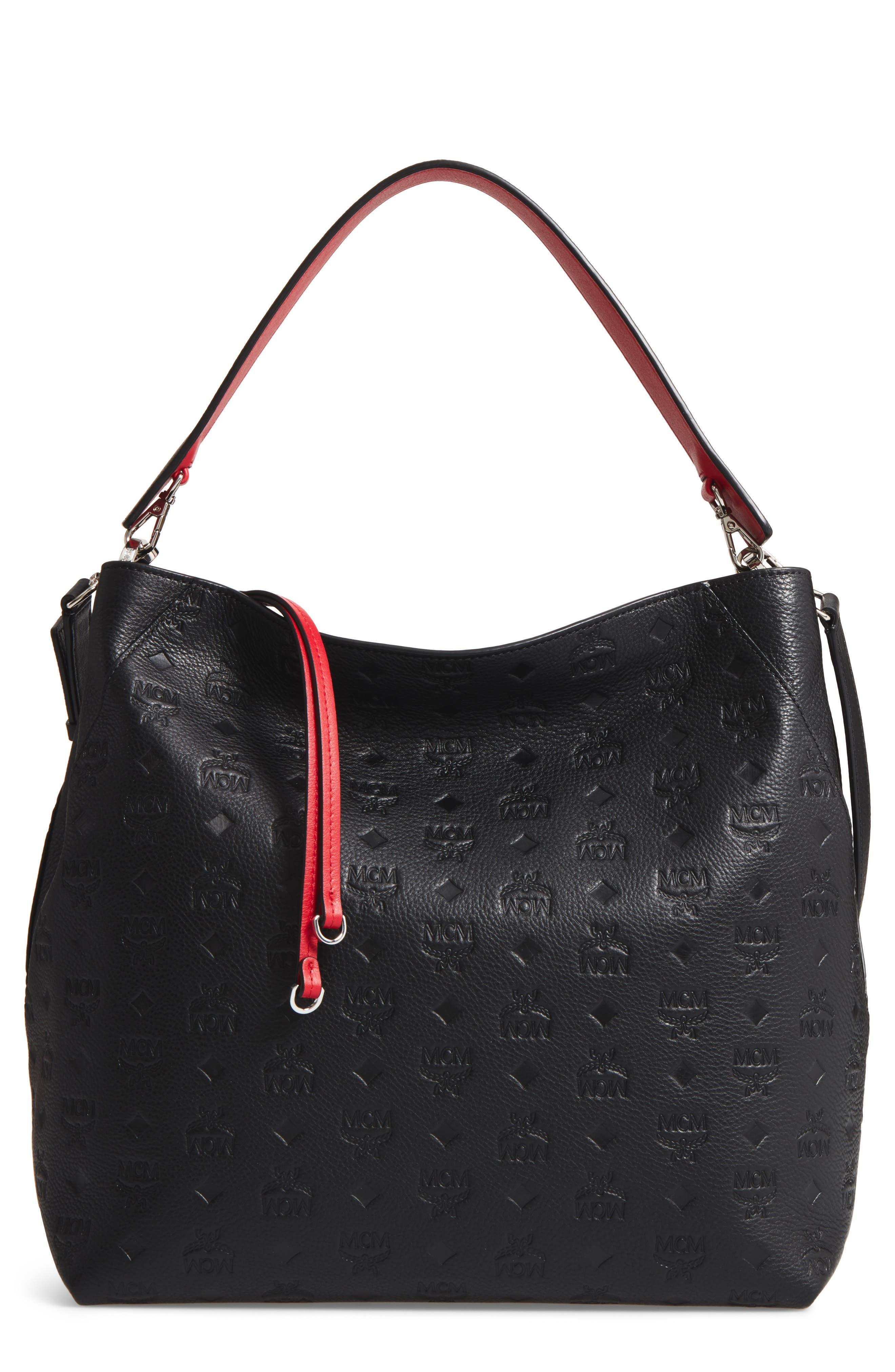 Klara Monogrammed Leather Hobo Bag,                             Main thumbnail 1, color,                             BLACK
