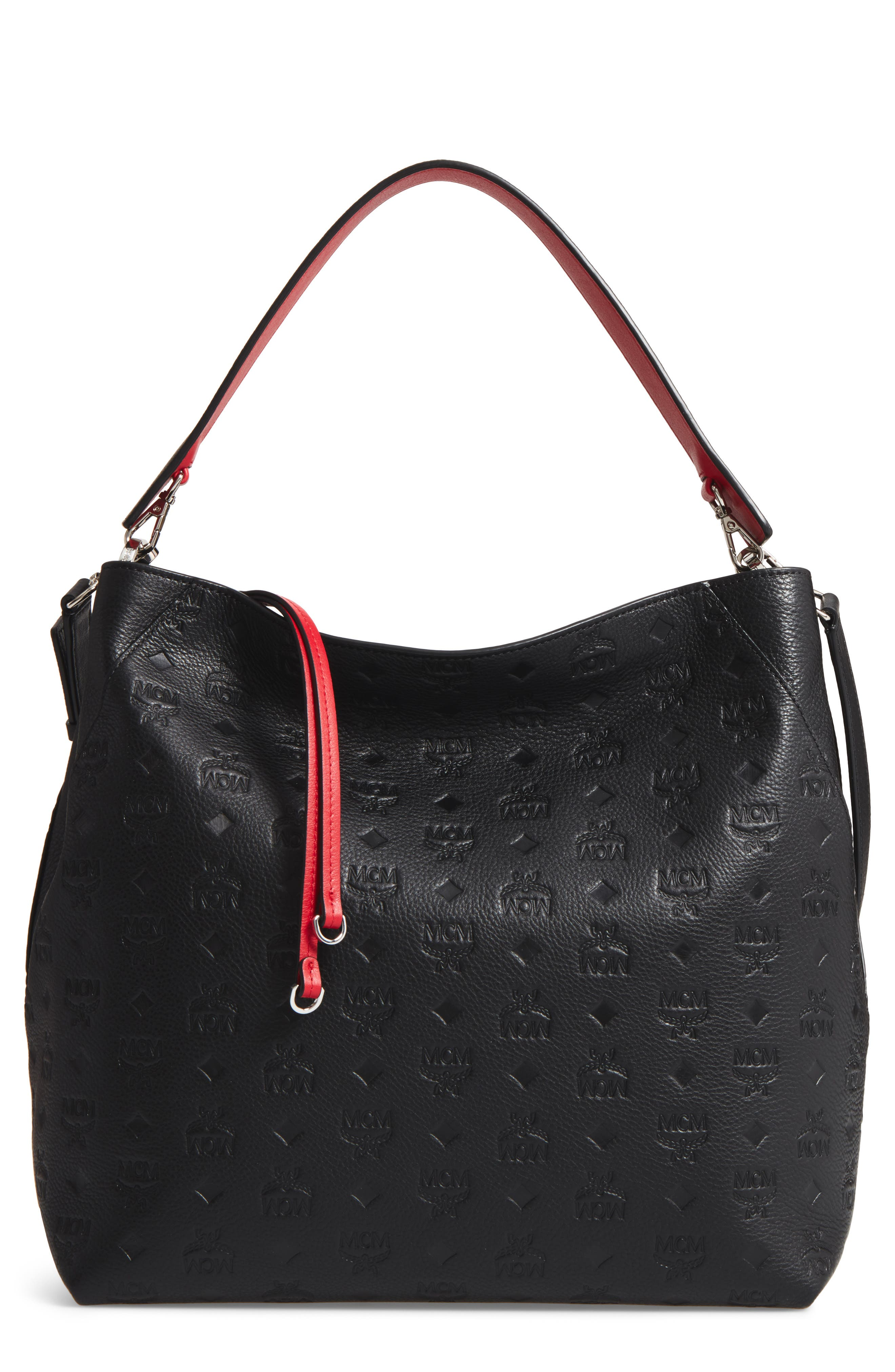 Klara Monogrammed Leather Hobo Bag,                         Main,                         color, BLACK