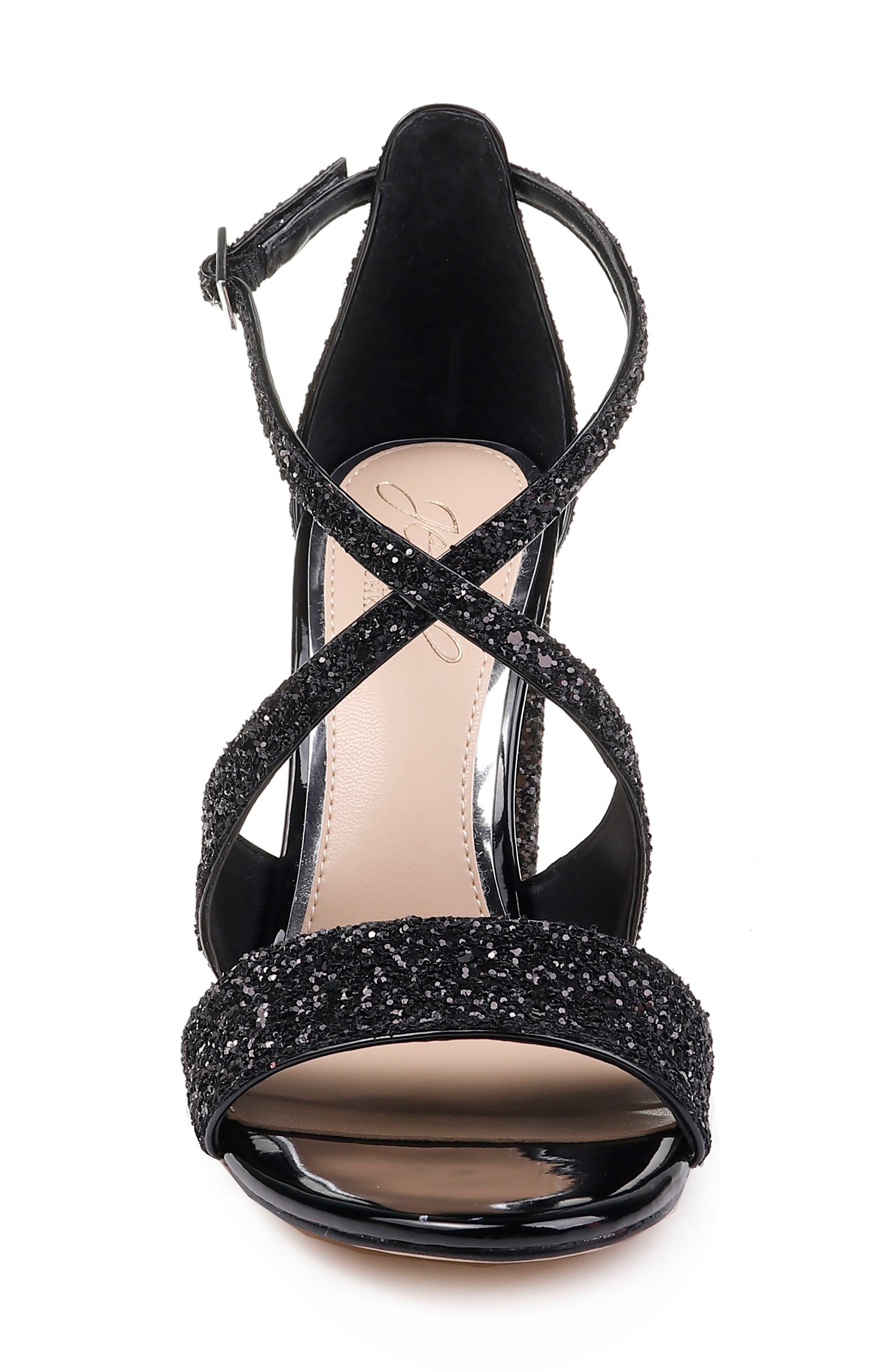 Cook Block Heel Glitter Sandal,                             Alternate thumbnail 4, color,                             BLACK LEATHER