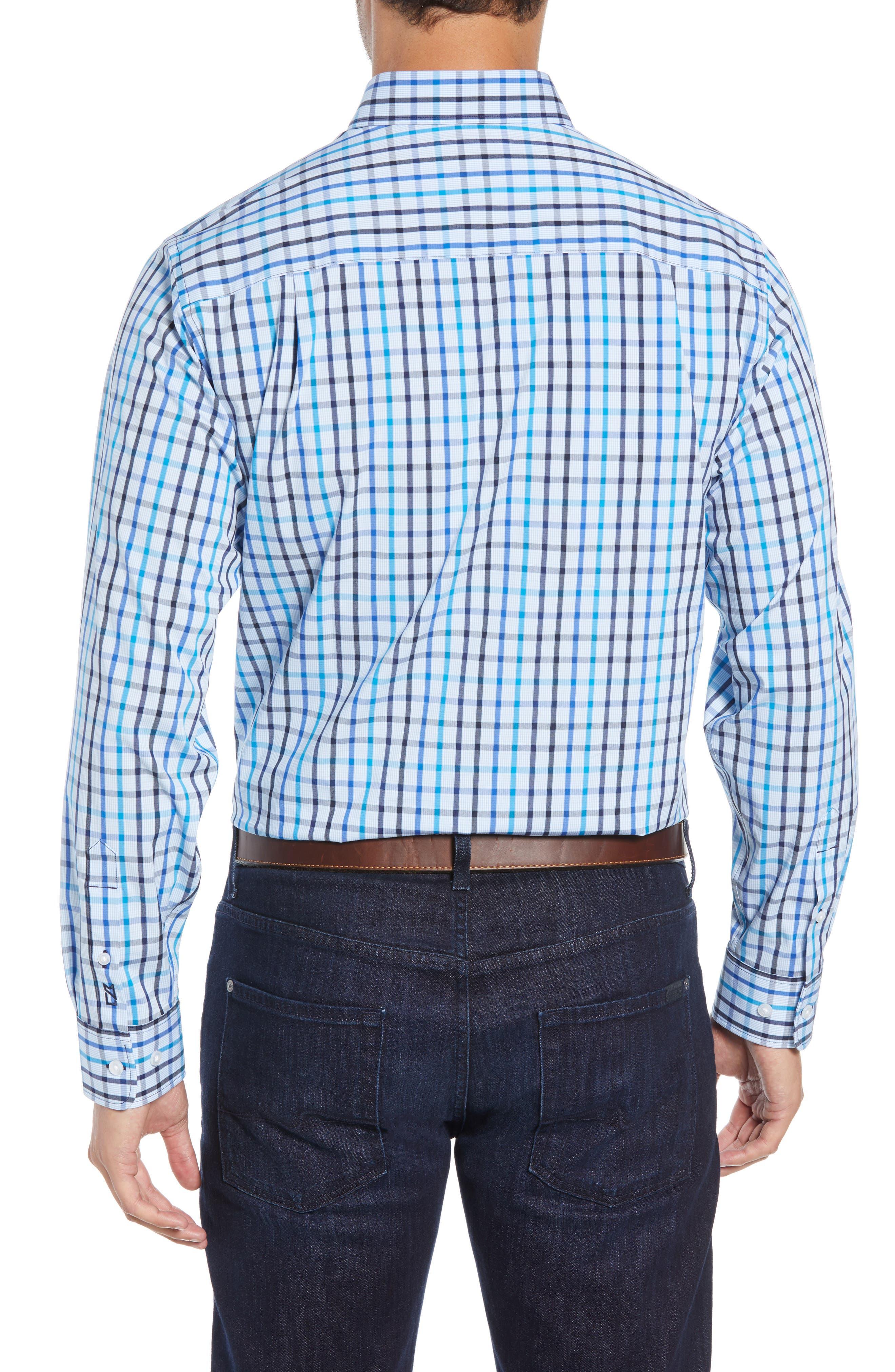 Clarence Regular Fit Plaid Sport Shirt,                             Alternate thumbnail 3, color,                             LIBERTY NAVY
