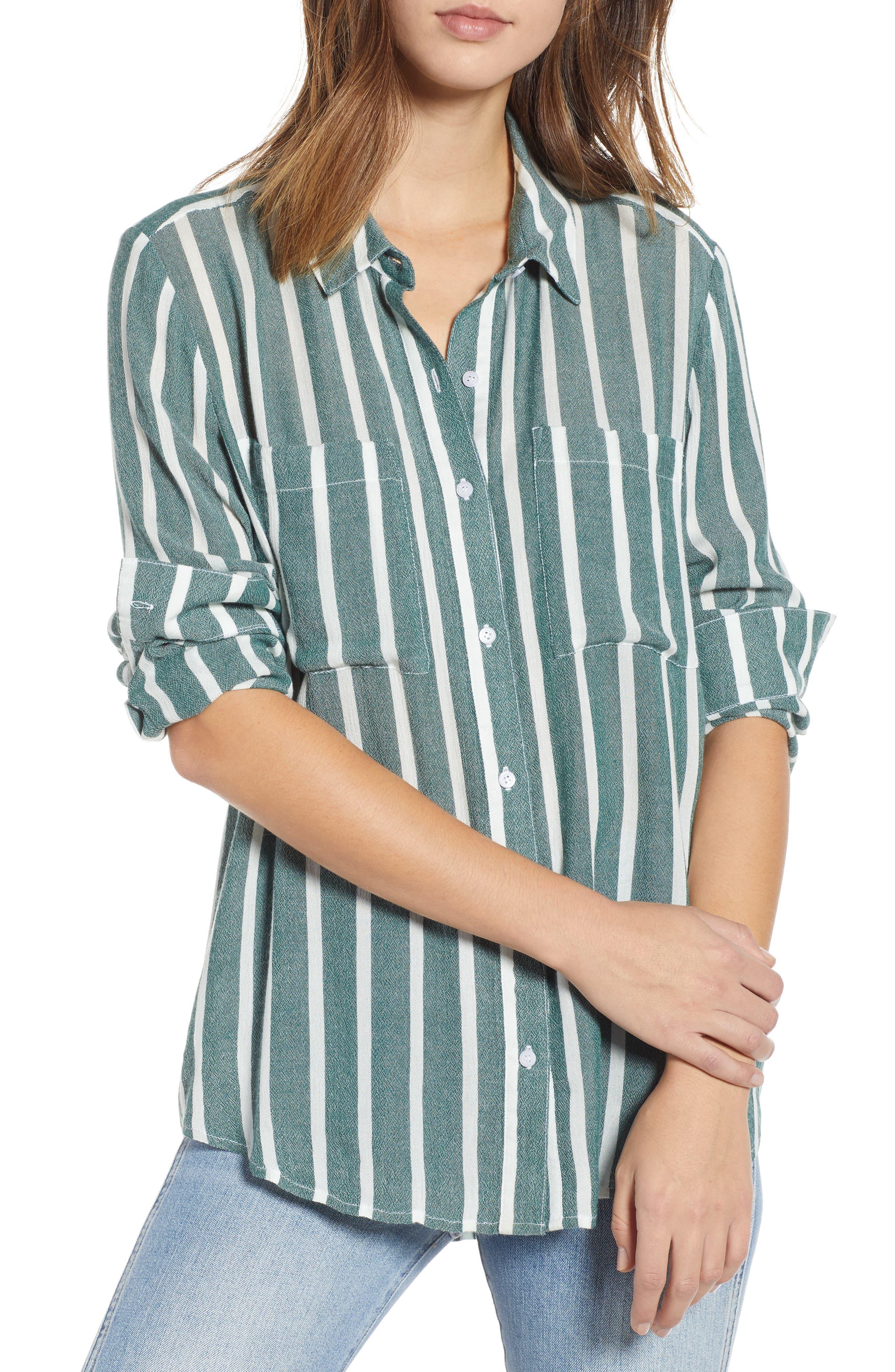 The Perfect Shirt,                             Main thumbnail 1, color,                             GREEN BOTANICAL KASEY STRIPE