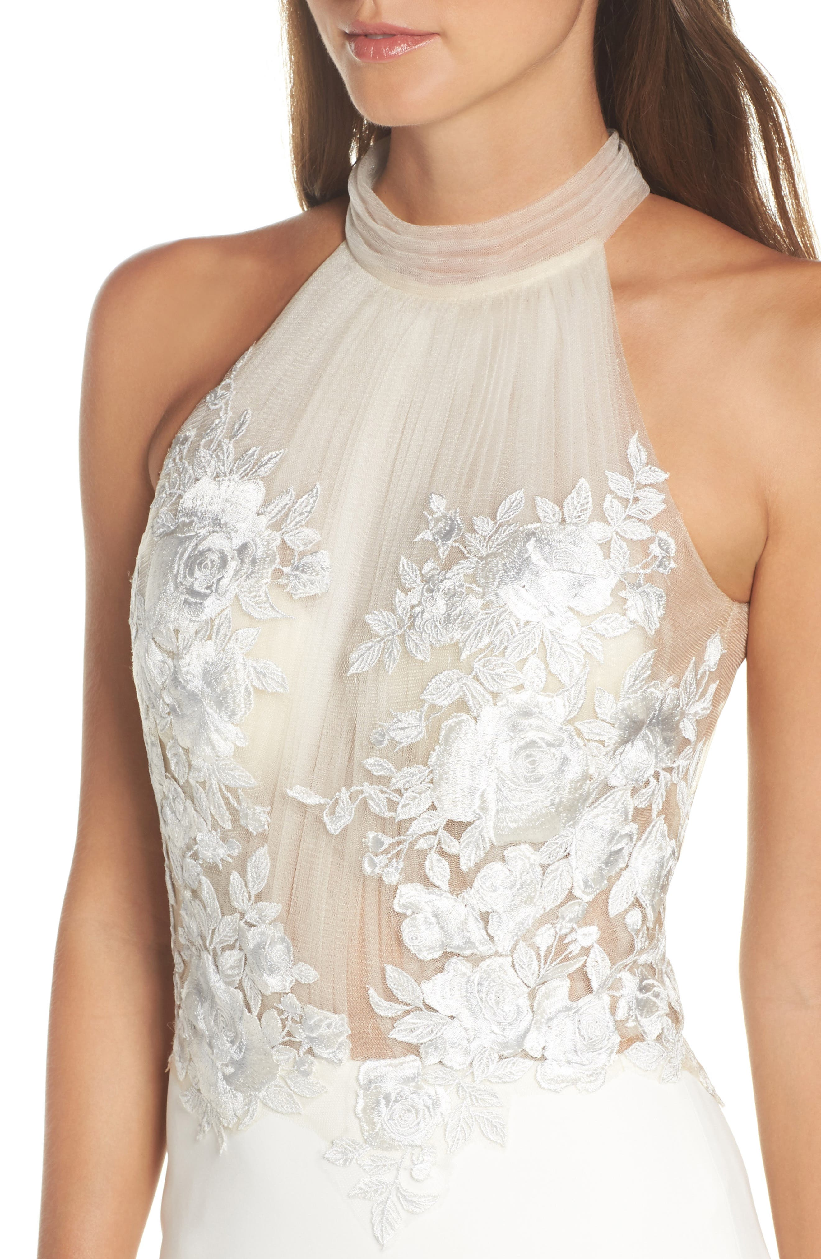 Embroidered Halter Trumpet Gown,                             Alternate thumbnail 4, color,                             IVORY