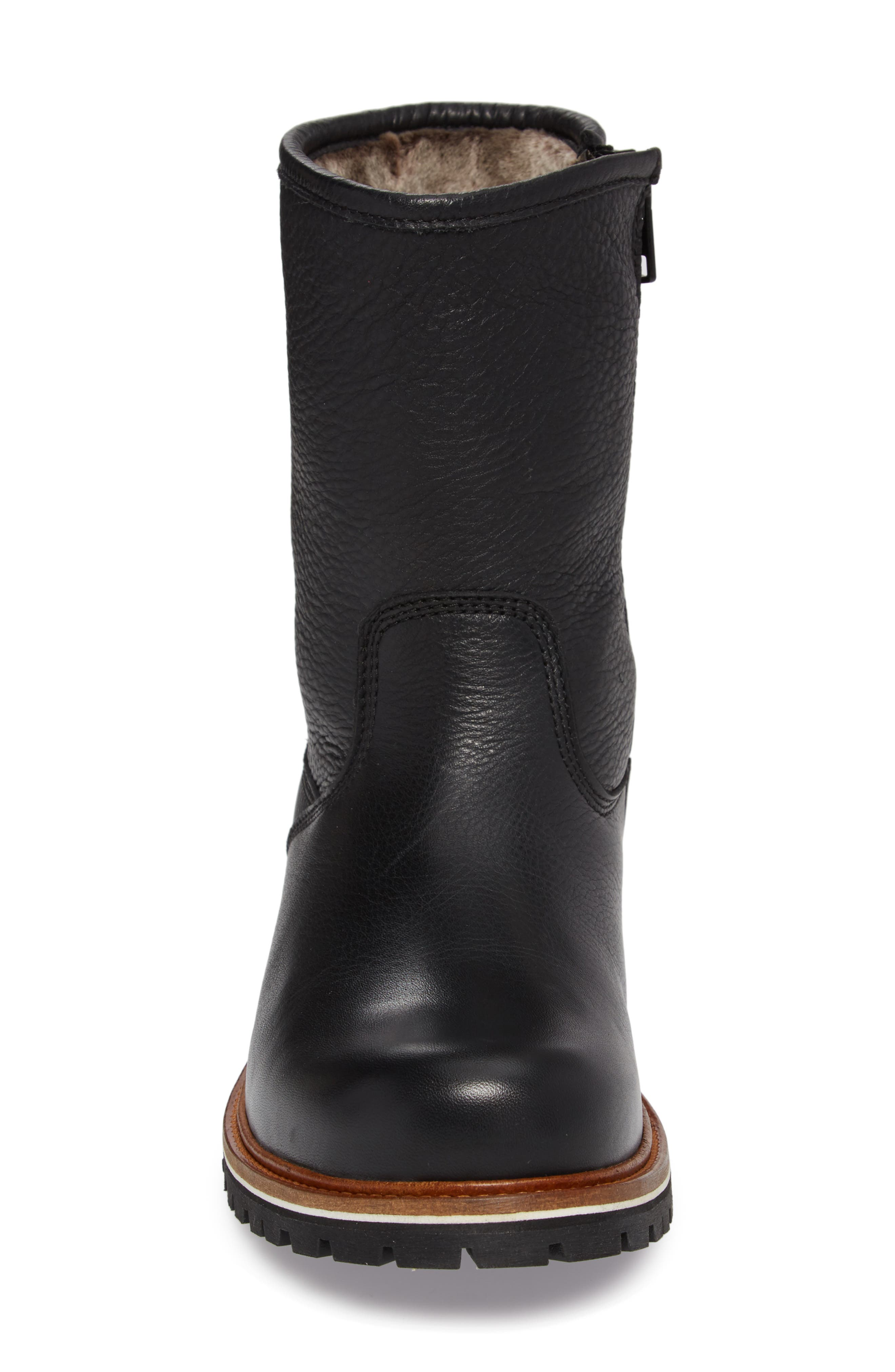 Snow Lodge Waterproof Gore-Tex<sup>®</sup> Genuine Shearling Lined Boot,                             Alternate thumbnail 4, color,                             BLACK LEATHER