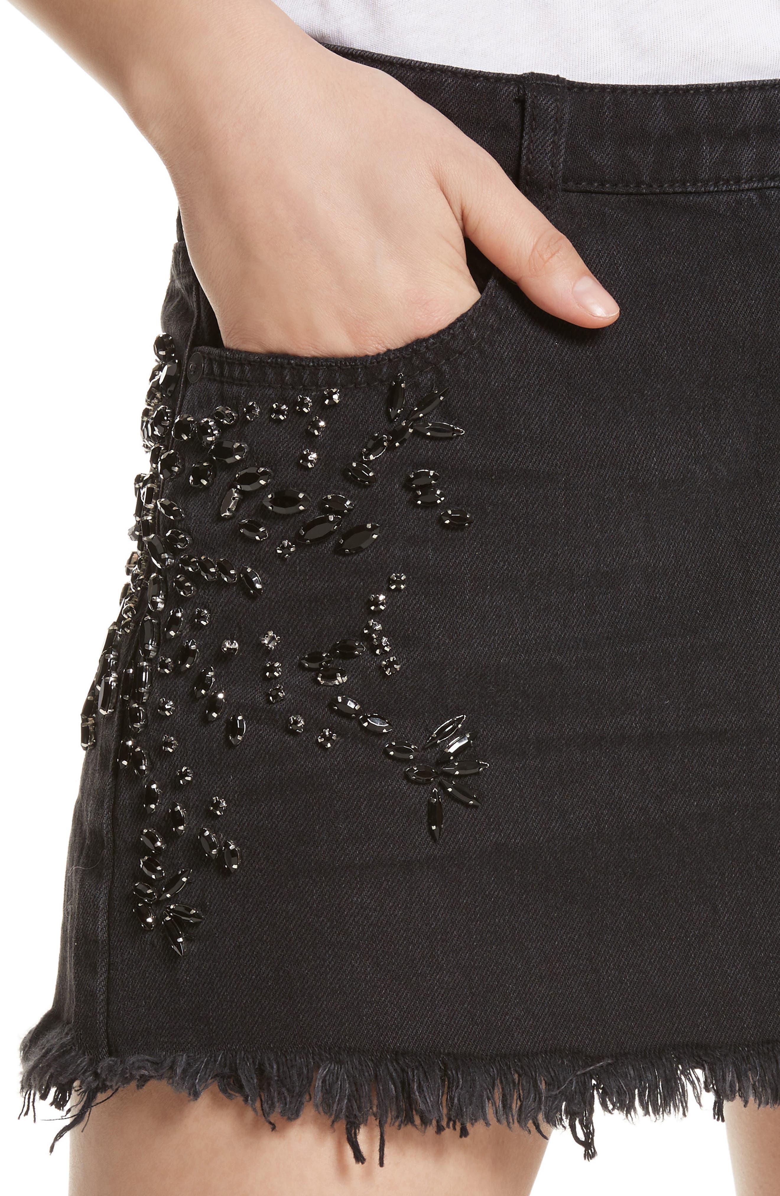 Shine Bright Shine Far Beaded Miniskirt,                             Alternate thumbnail 4, color,                             001