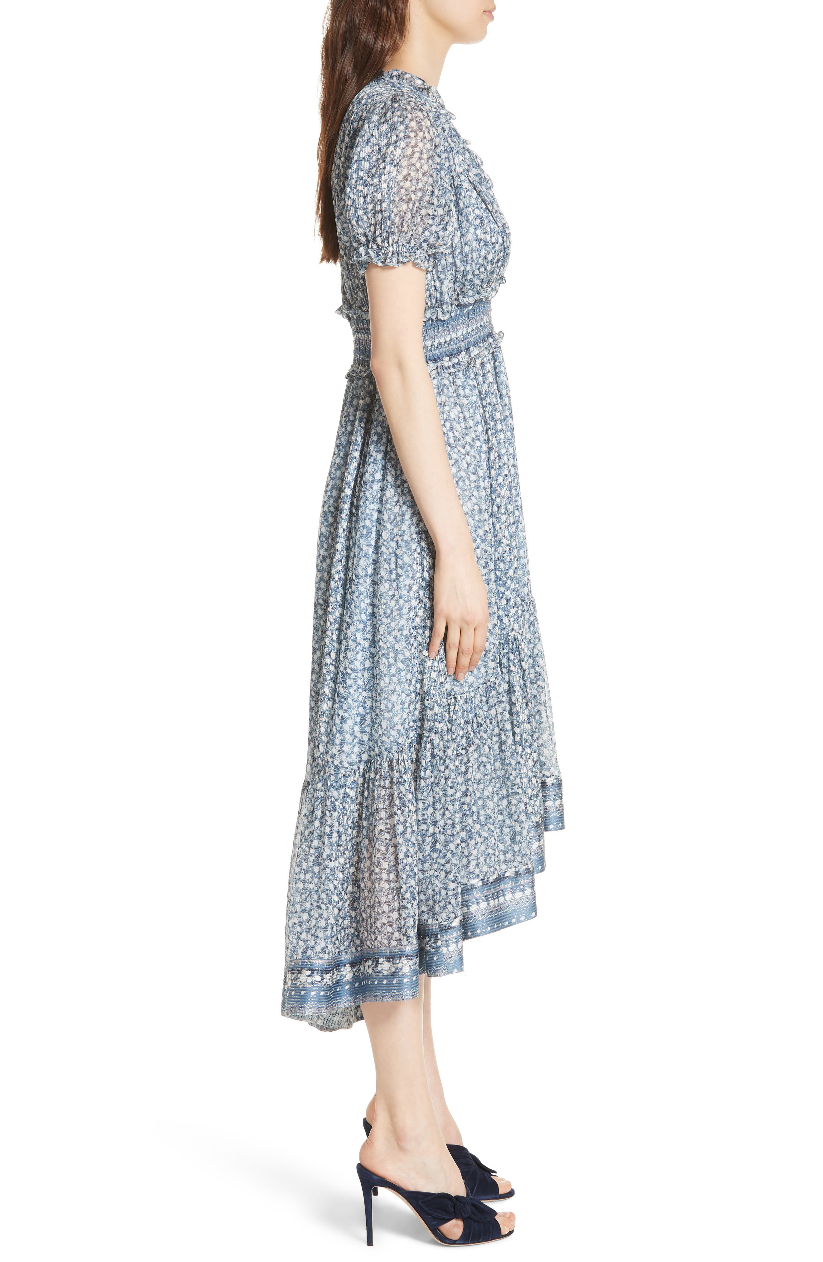 Evania Floral Silk Blend Dress,                             Alternate thumbnail 3, color,                             400