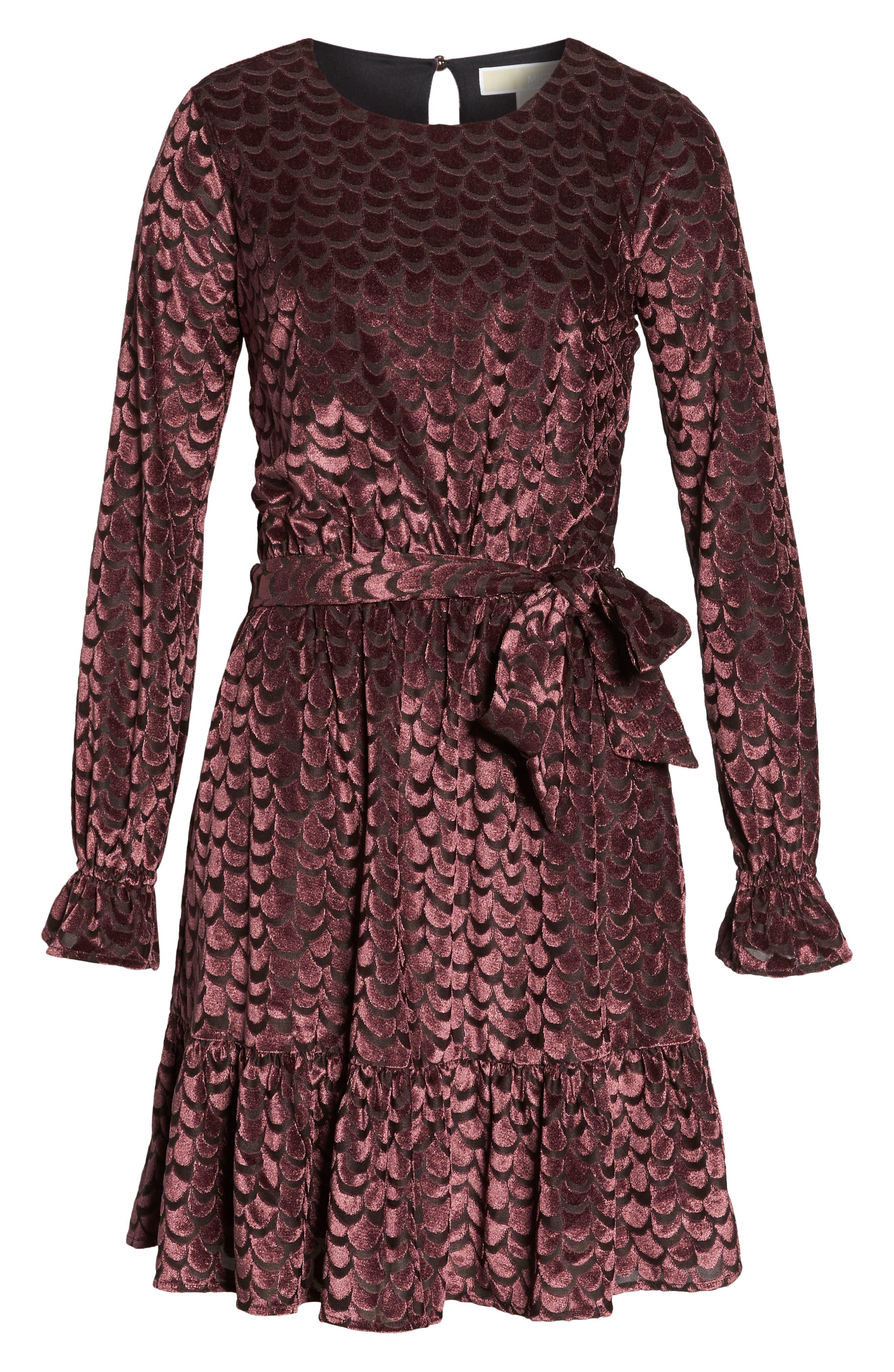 Velvet Tie Waist Dress,                             Alternate thumbnail 7, color,                             BLACK/ CORDOVAN