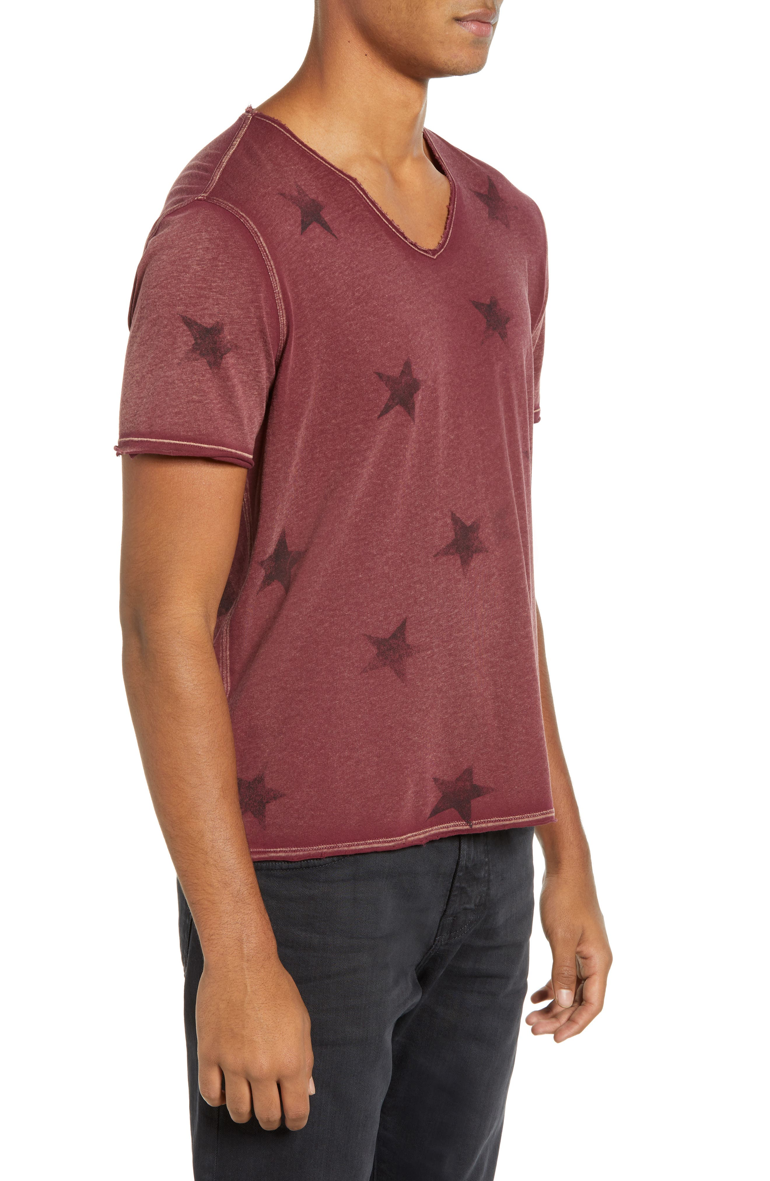Star Print T-Shirt,                             Alternate thumbnail 3, color,                             OXBLOOD