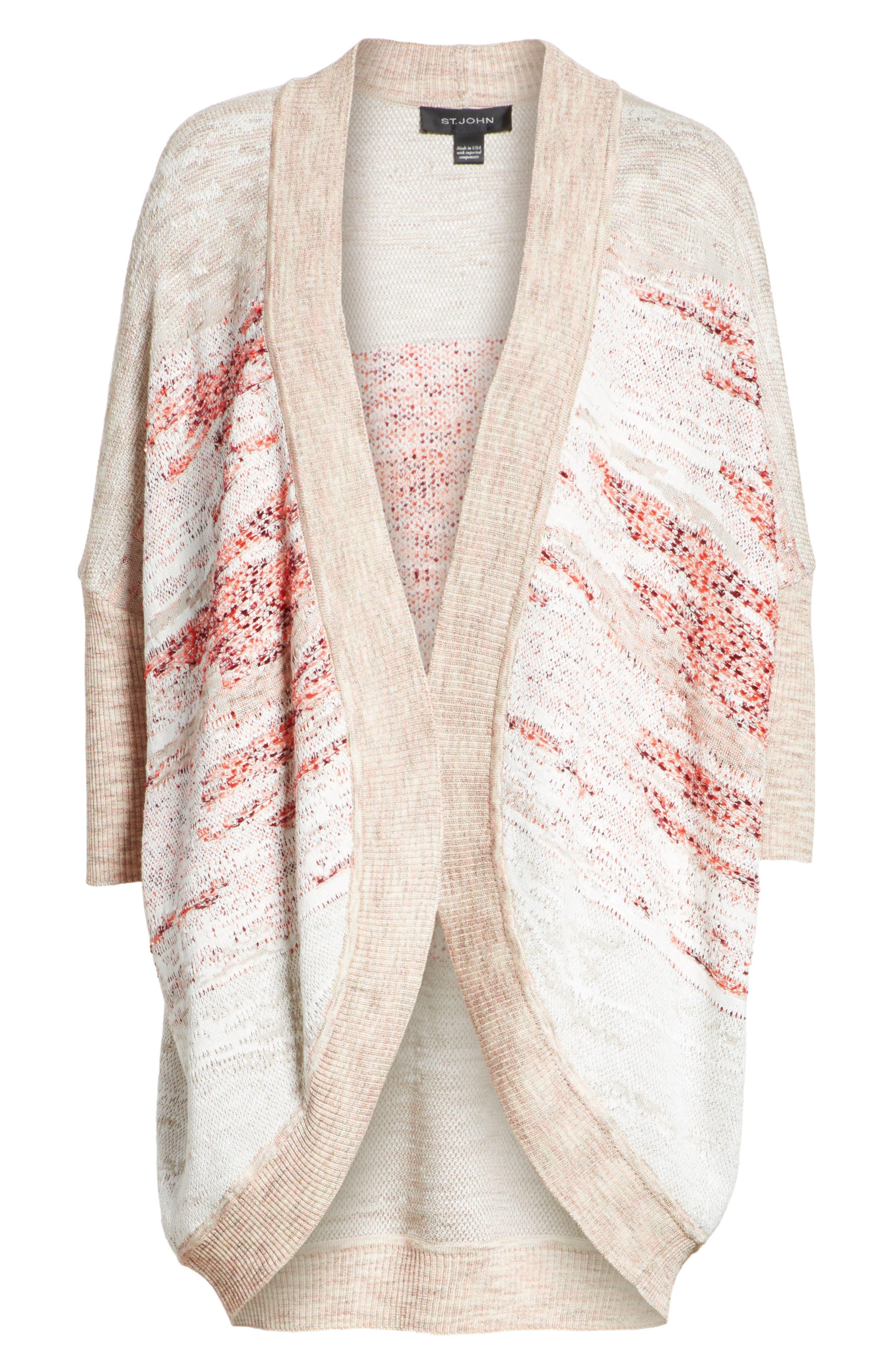 Ombré Textured Jacquard Knit Cardigan,                             Alternate thumbnail 6, color,                             050