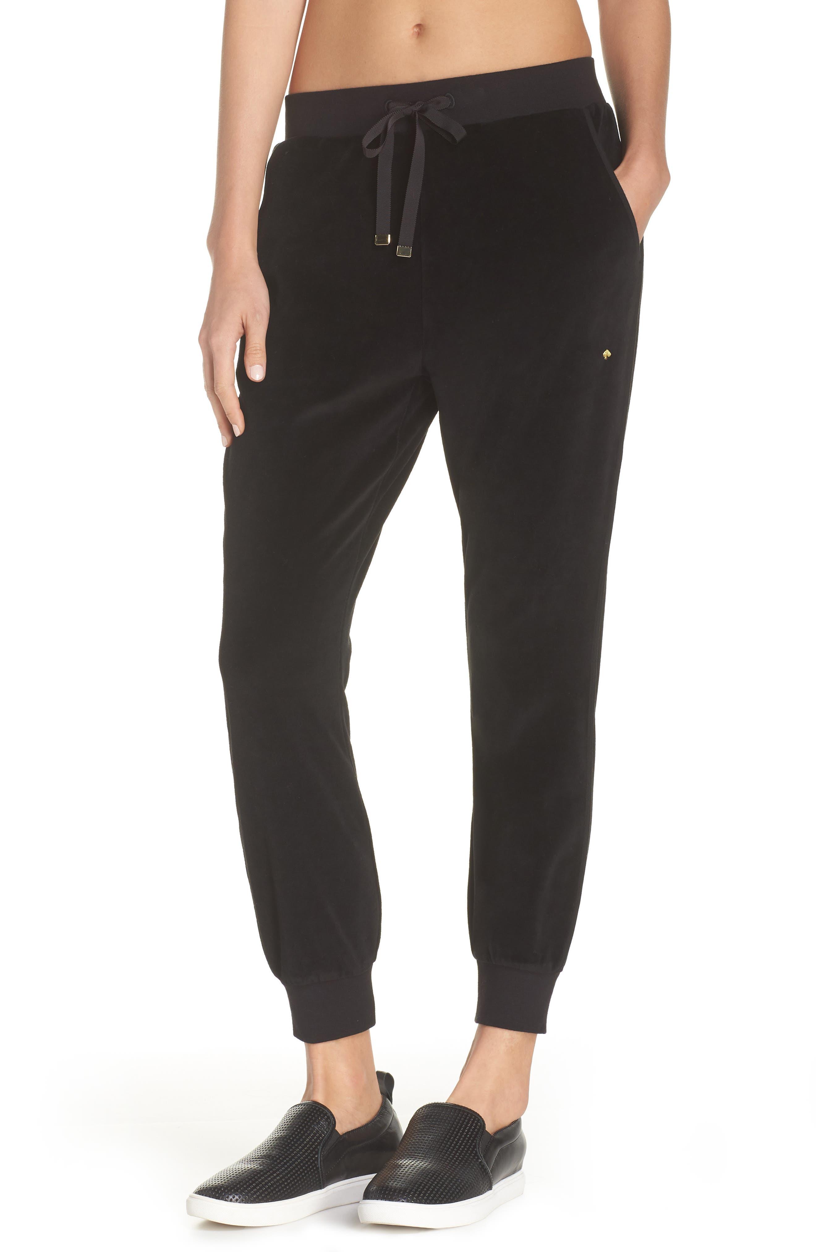Velour Drawstring Jogger Pants in Black