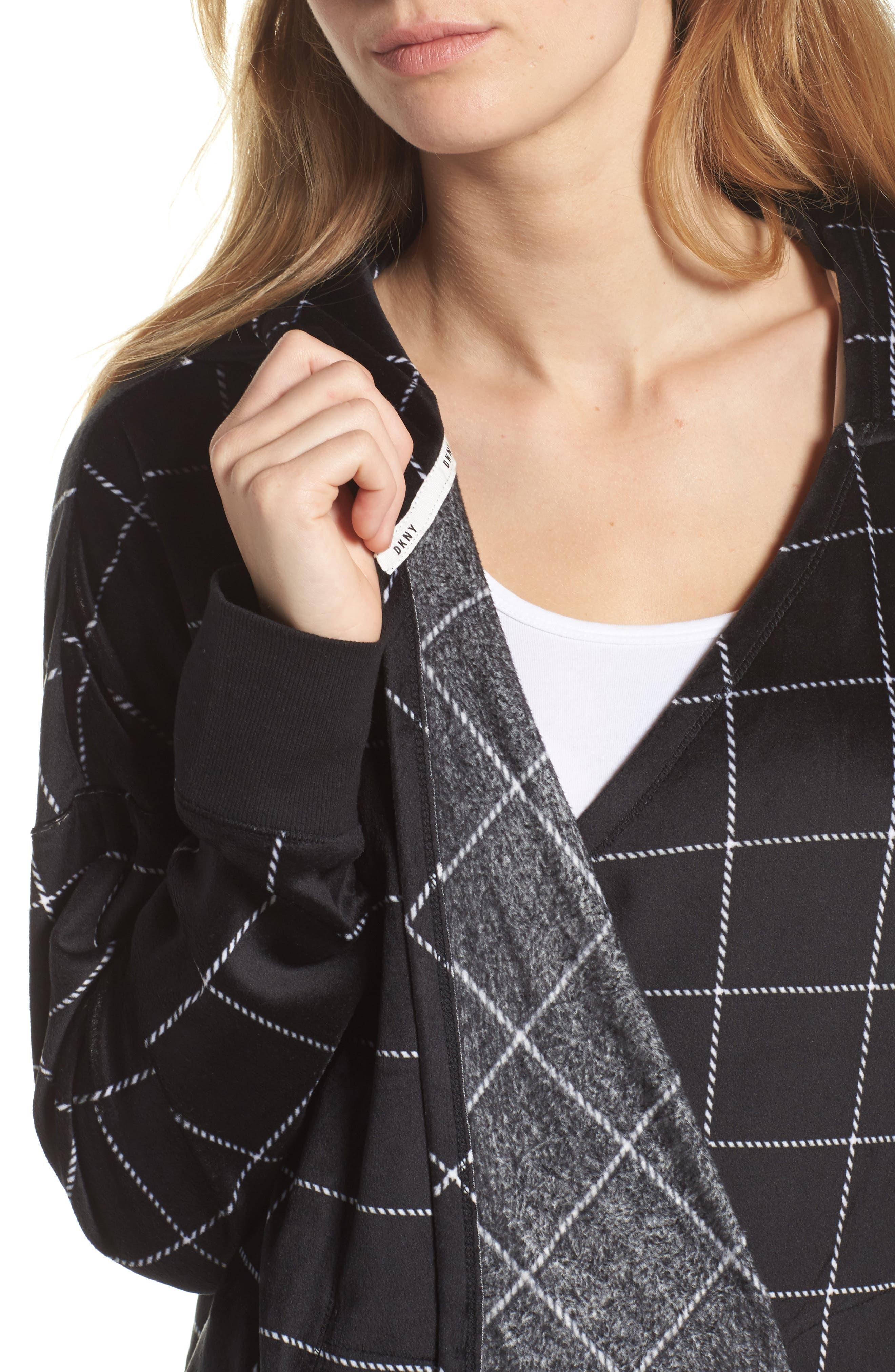 Drape Front Sweatshirt,                             Alternate thumbnail 4, color,                             001