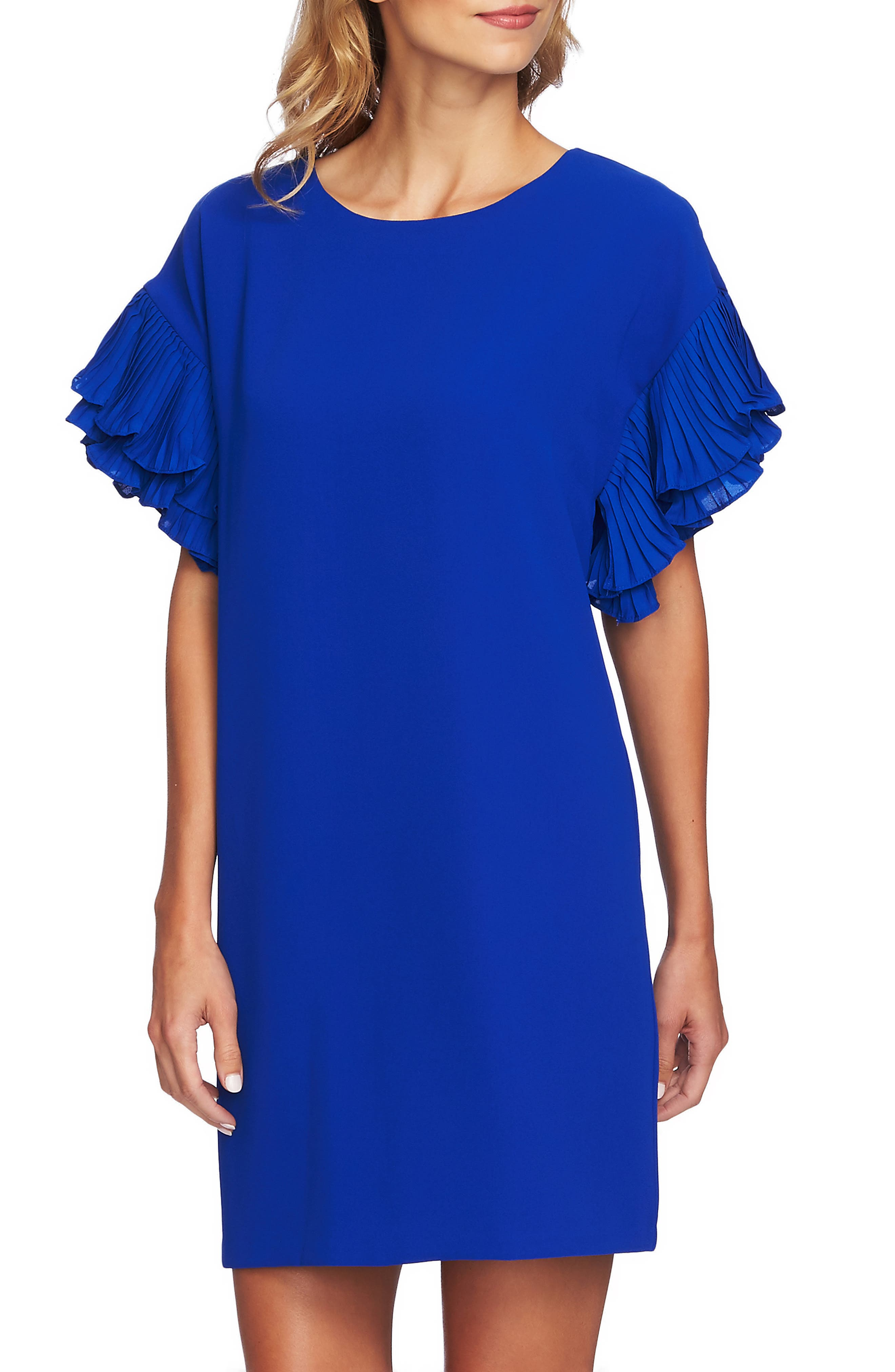 Tiered Pleated Crepe Shift Dress,                             Alternate thumbnail 4, color,                             COBALT