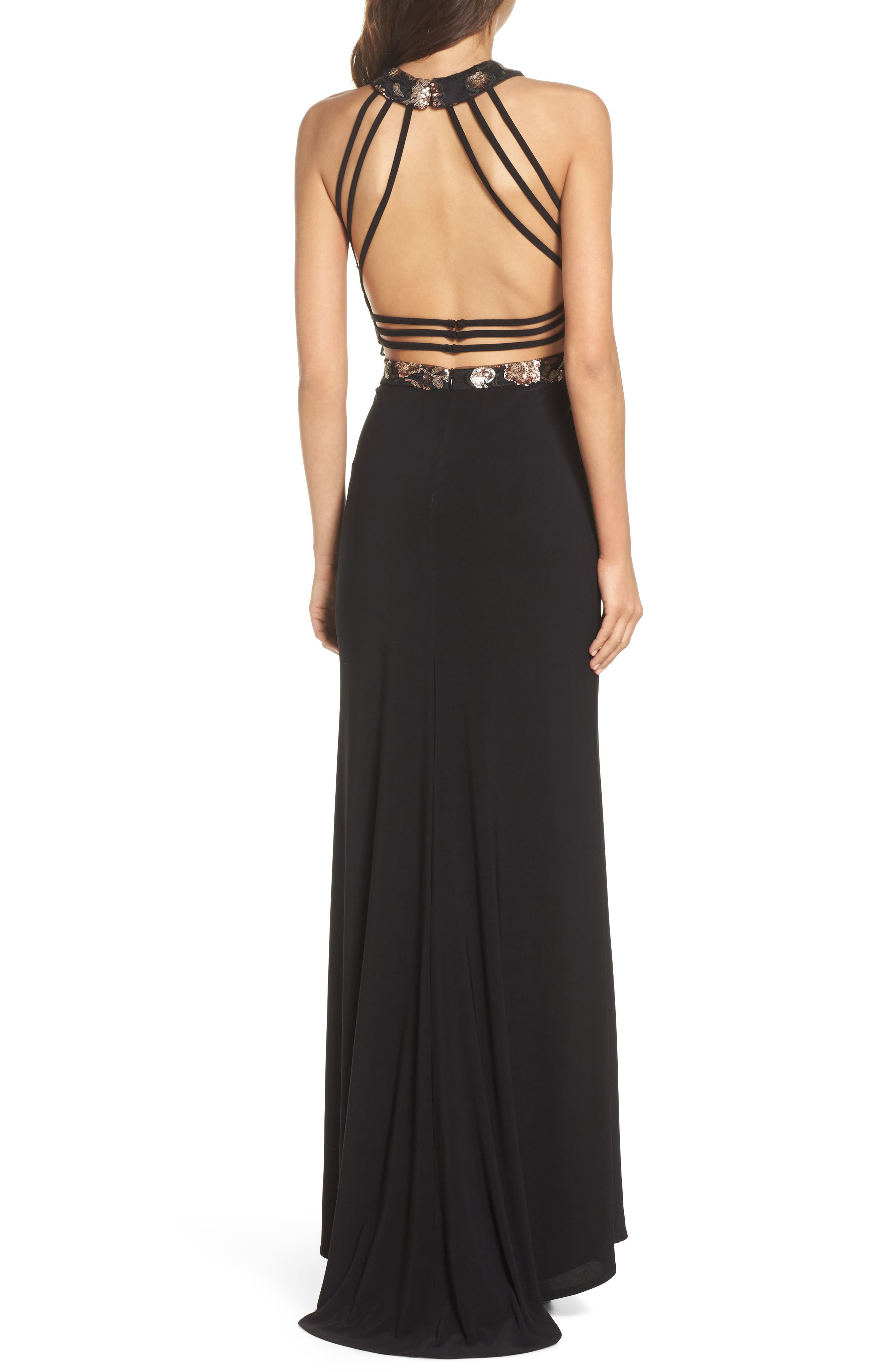 MORGAN & CO.,                             Sequin Mesh Panel Gown,                             Alternate thumbnail 2, color,                             BLACK / ROSE GOLD