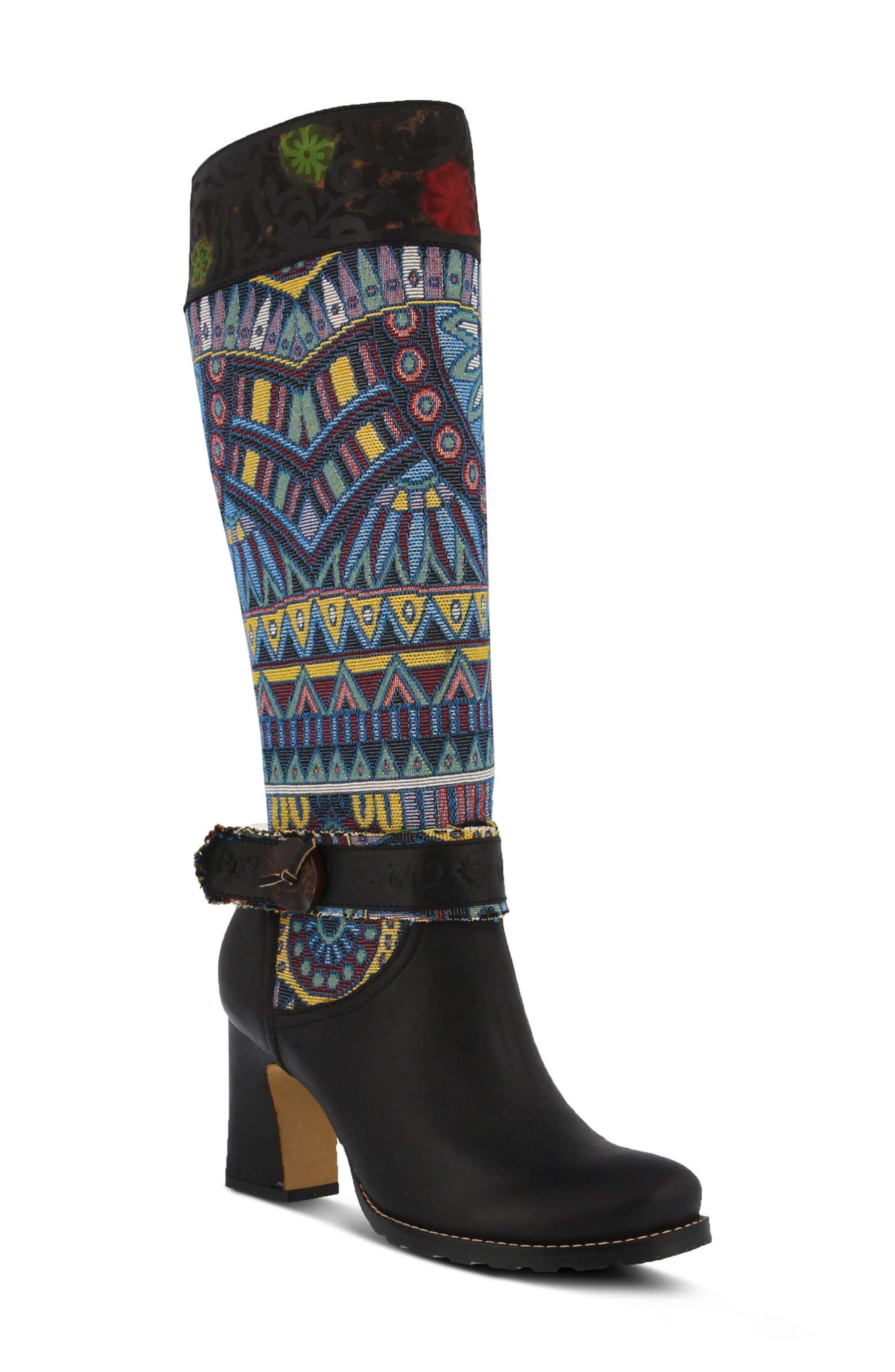 L'Artiste Natalia Boot,                             Main thumbnail 1, color,                             BLACK LEATHER