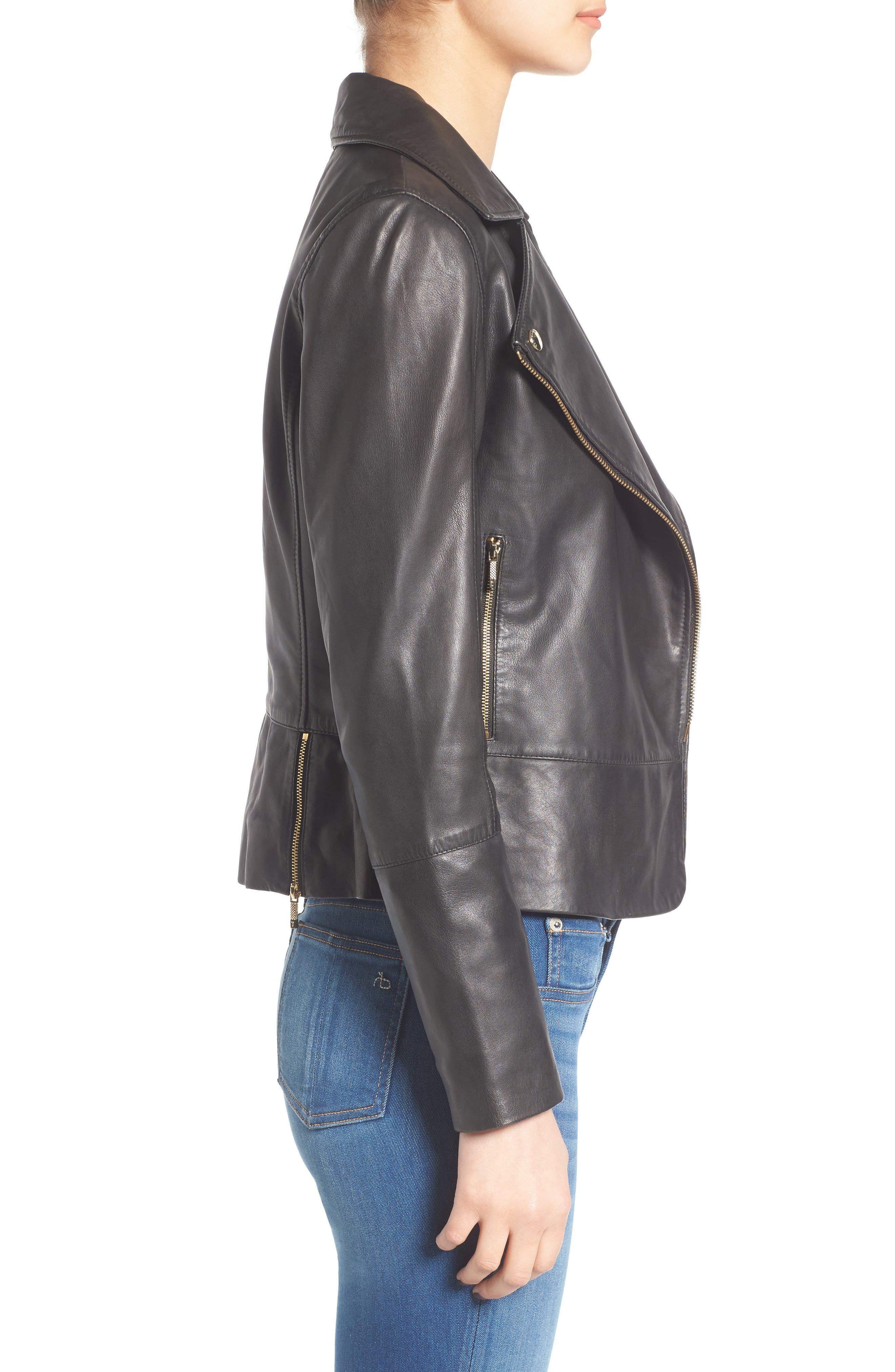 Minimal Leather Biker Jacket,                             Alternate thumbnail 3, color,                             001