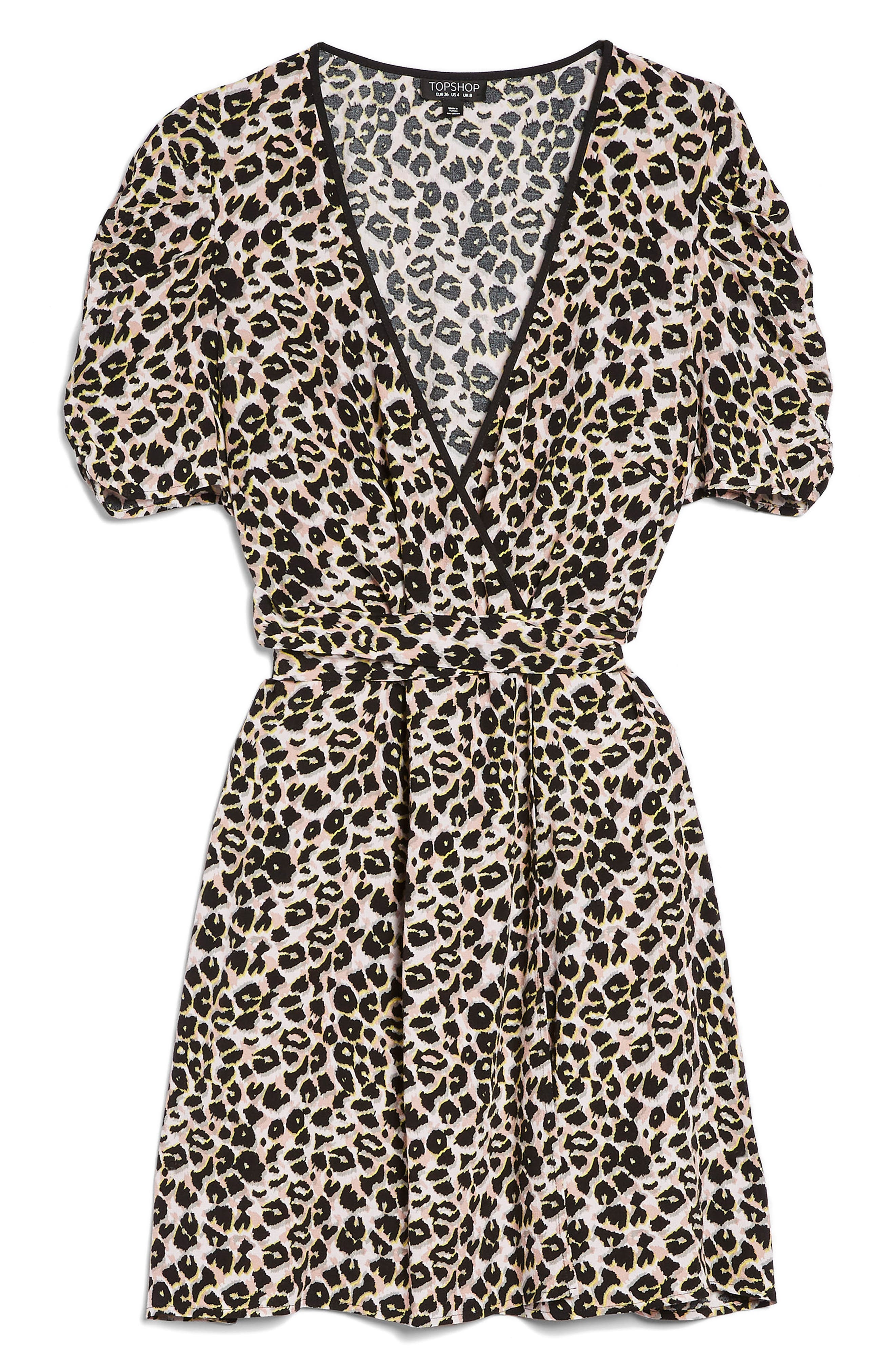 Leopard Wrap Minidress,                             Alternate thumbnail 4, color,                             201
