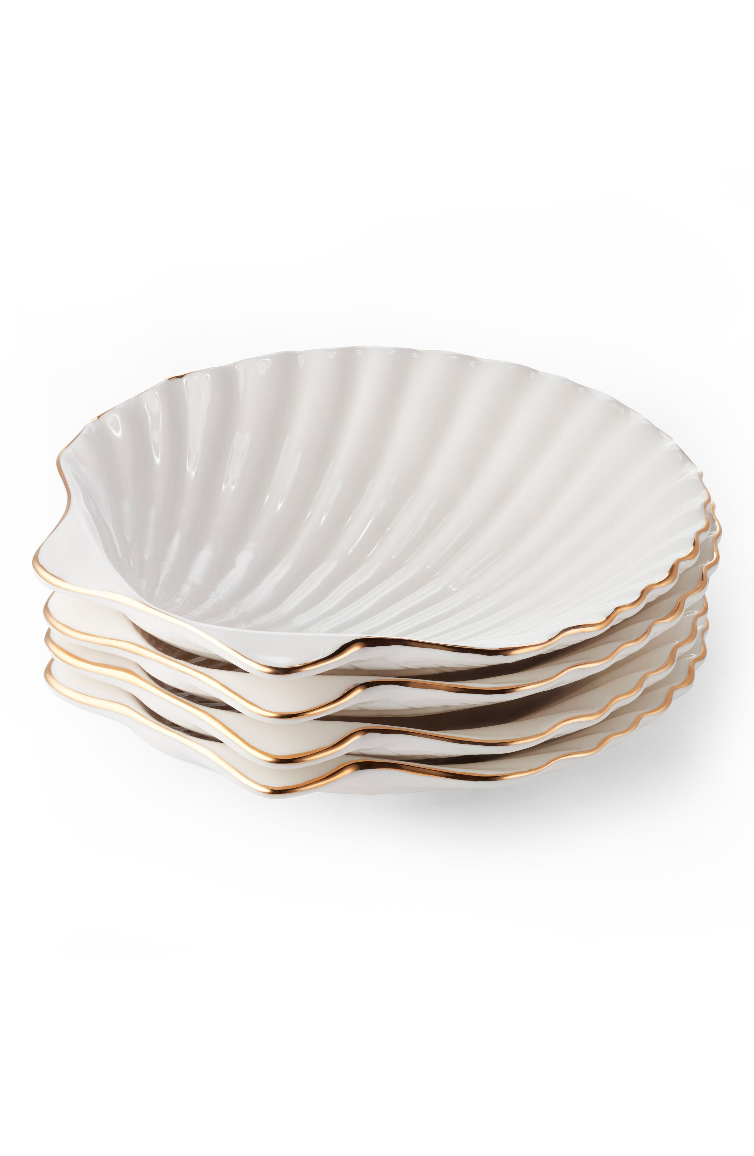 AERIN Set of 4 Shell Appetizer Plates, Main, color, 100
