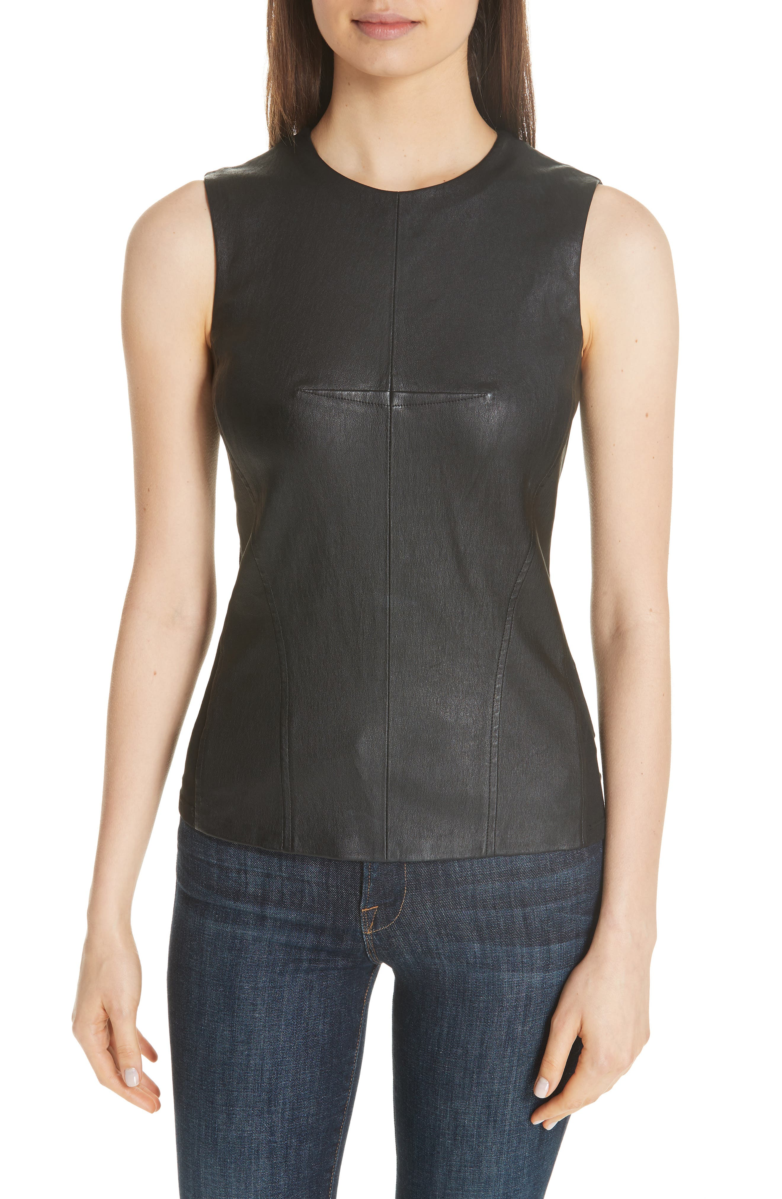 Seamed Leather Shell, Main, color, 001