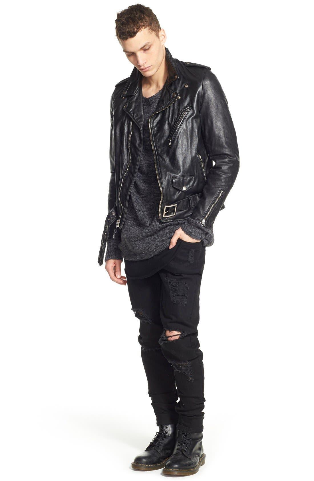 Hand Vintaged Cowhide Leather Motocycle Jacket,                             Alternate thumbnail 11, color,                             BLACK