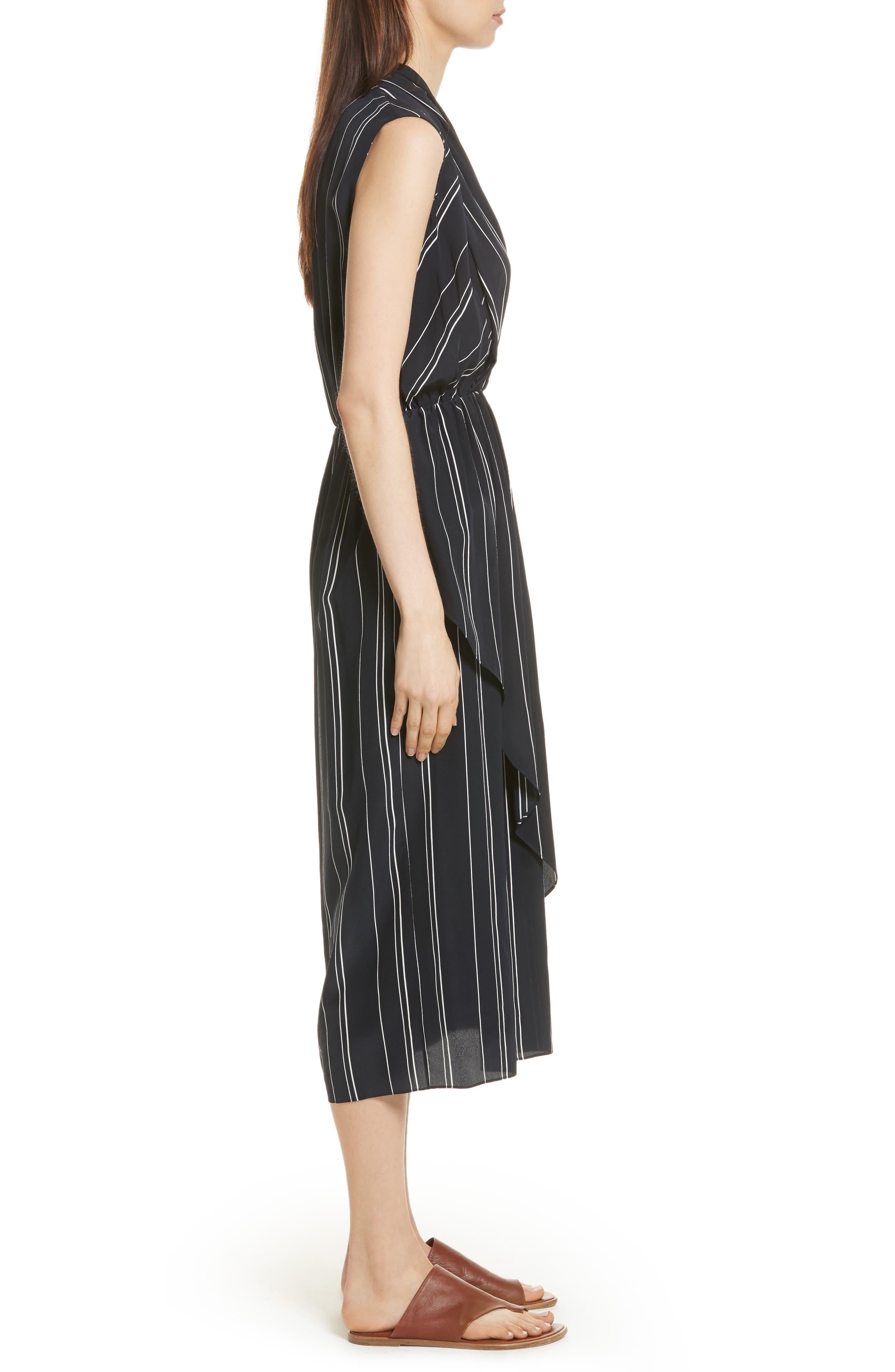 Draped Front Stripe Silk Midi Dress,                             Alternate thumbnail 3, color,                             403