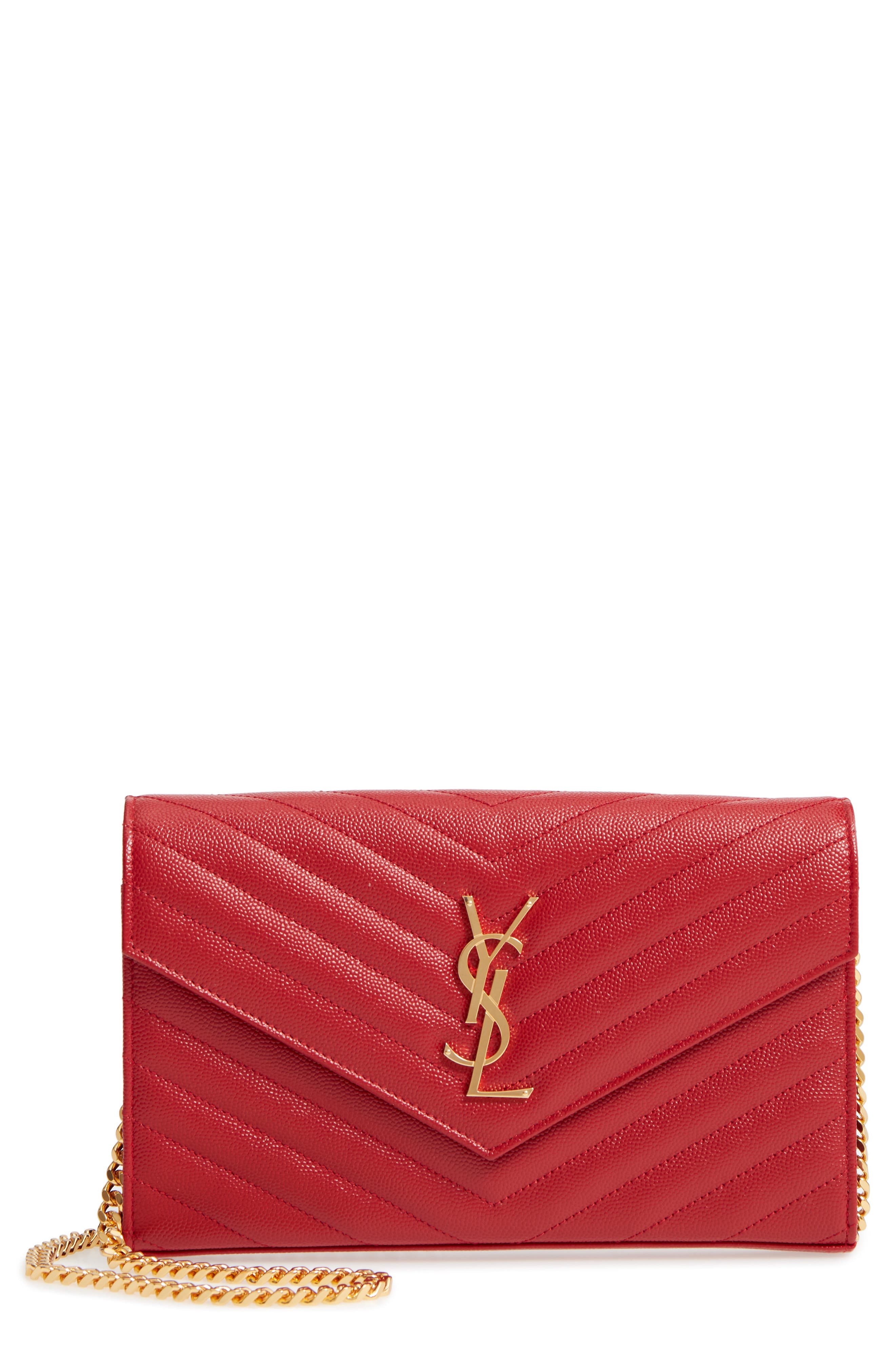 'Large Monogram' Quilted Leather Wallet on a Chain,                         Main,                         color, ROUGE EROS