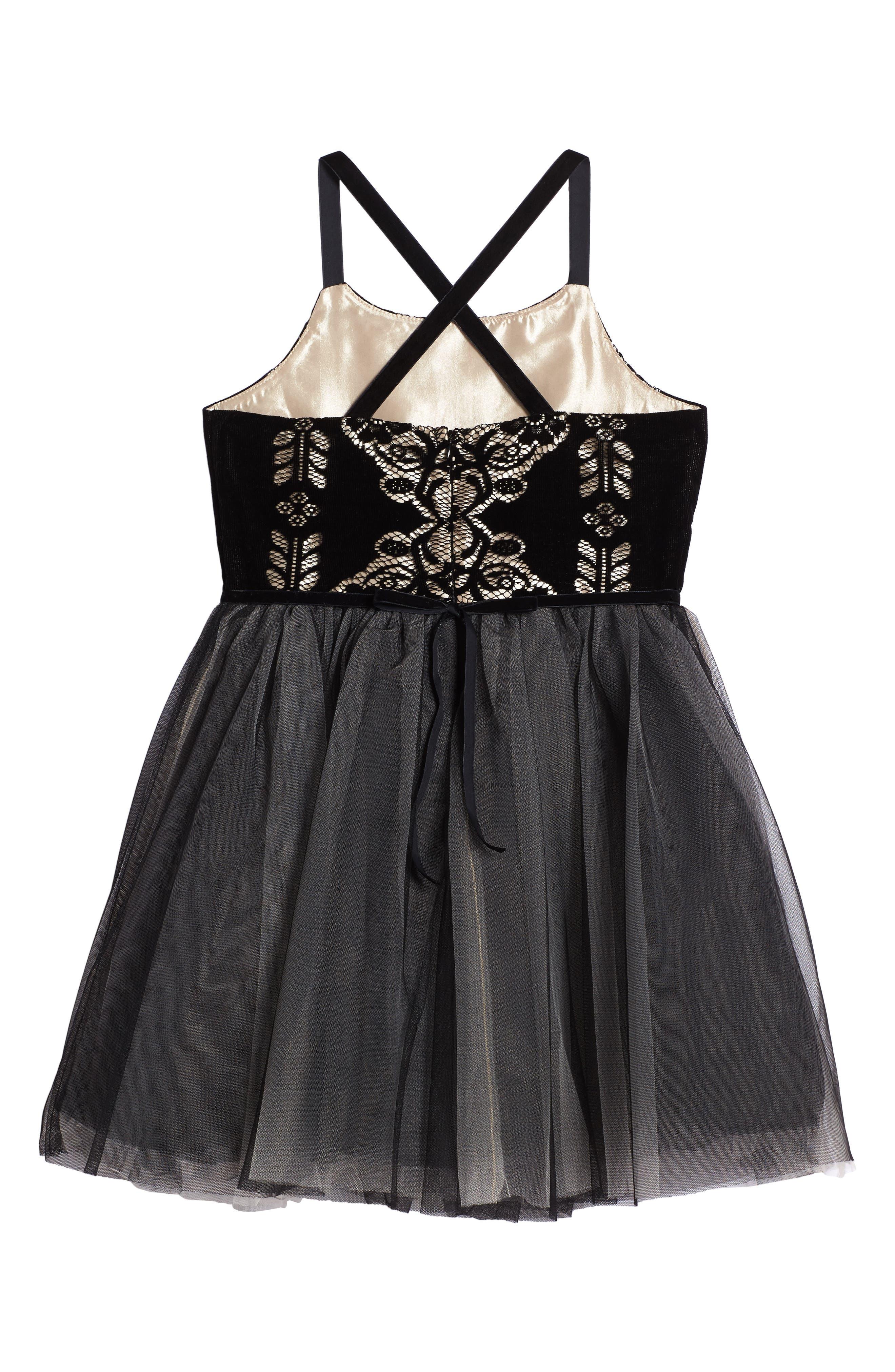 Burnout Lace Velvet & Tulle Dress,                             Alternate thumbnail 2, color,                             001