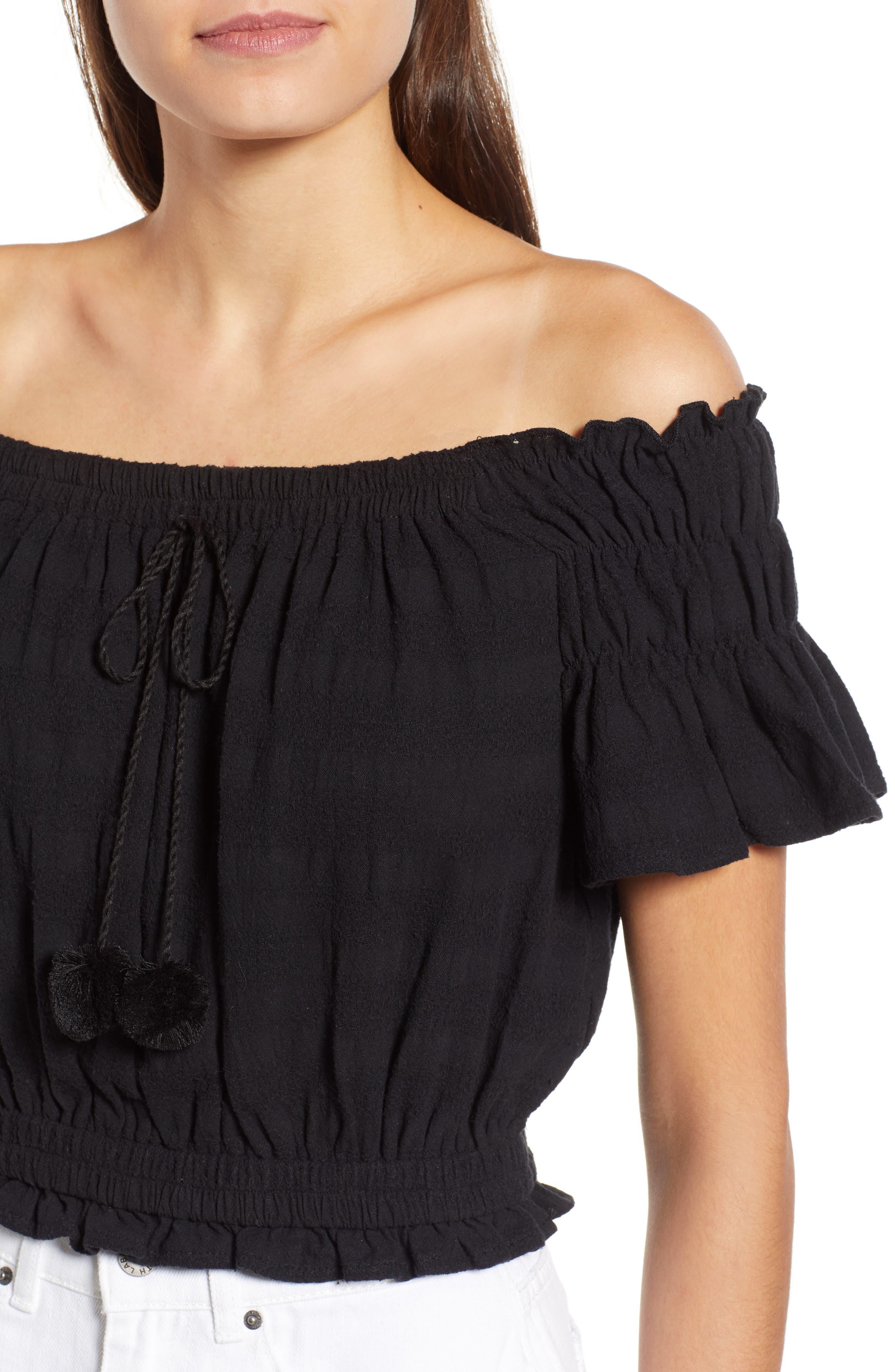 Pompom Off the Shoulder Top,                             Alternate thumbnail 4, color,                             001