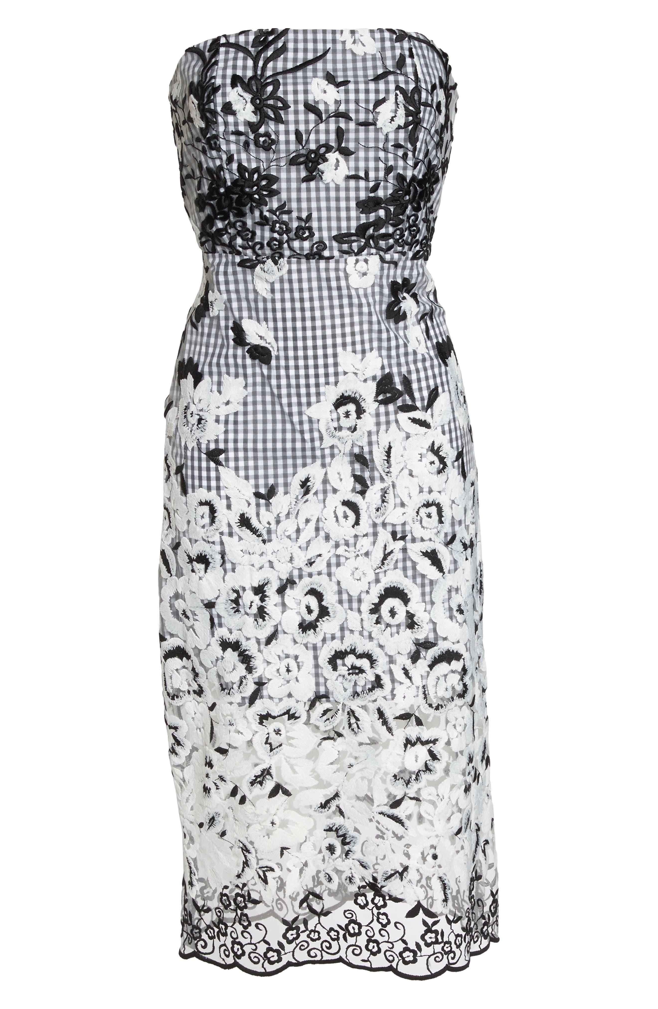 Strapless Midi Dress,                             Alternate thumbnail 6, color,                             001