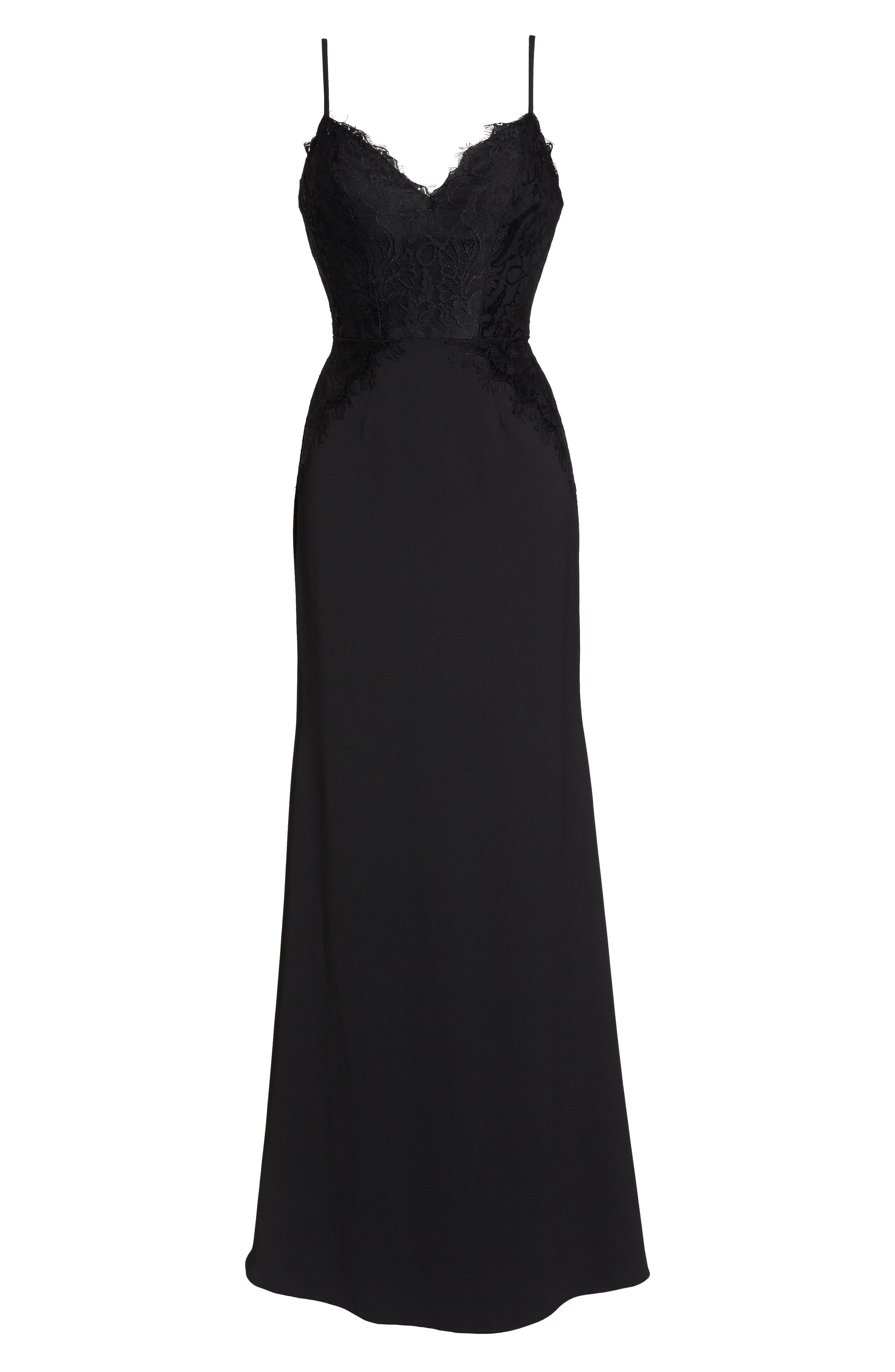 Lace & Crepe Trumpet Gown,                             Alternate thumbnail 6, color,                             BLACK