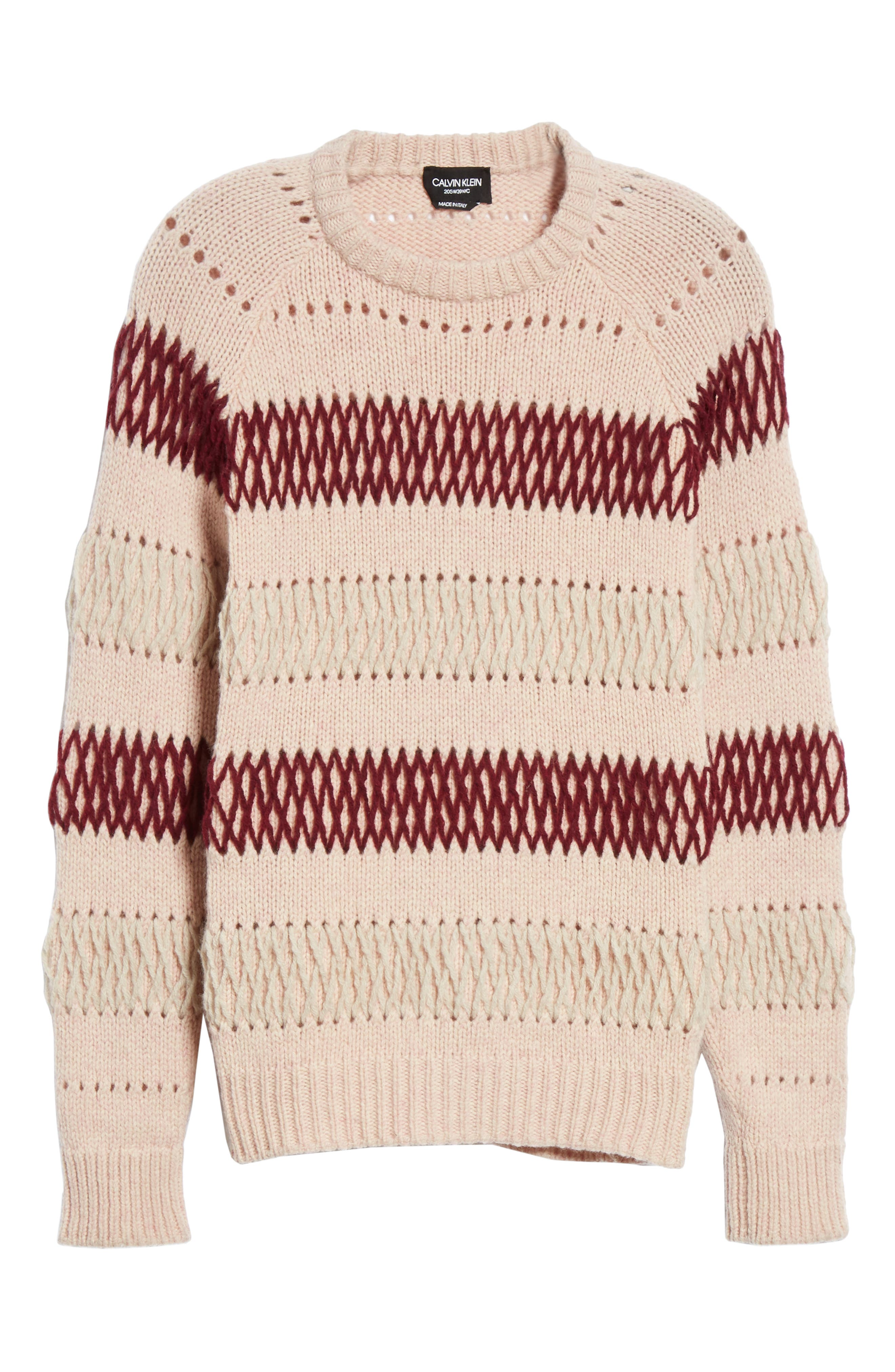 Embroidered Stripe Wool Sweater,                             Alternate thumbnail 7, color,                             PALE PINK BURGUNDY