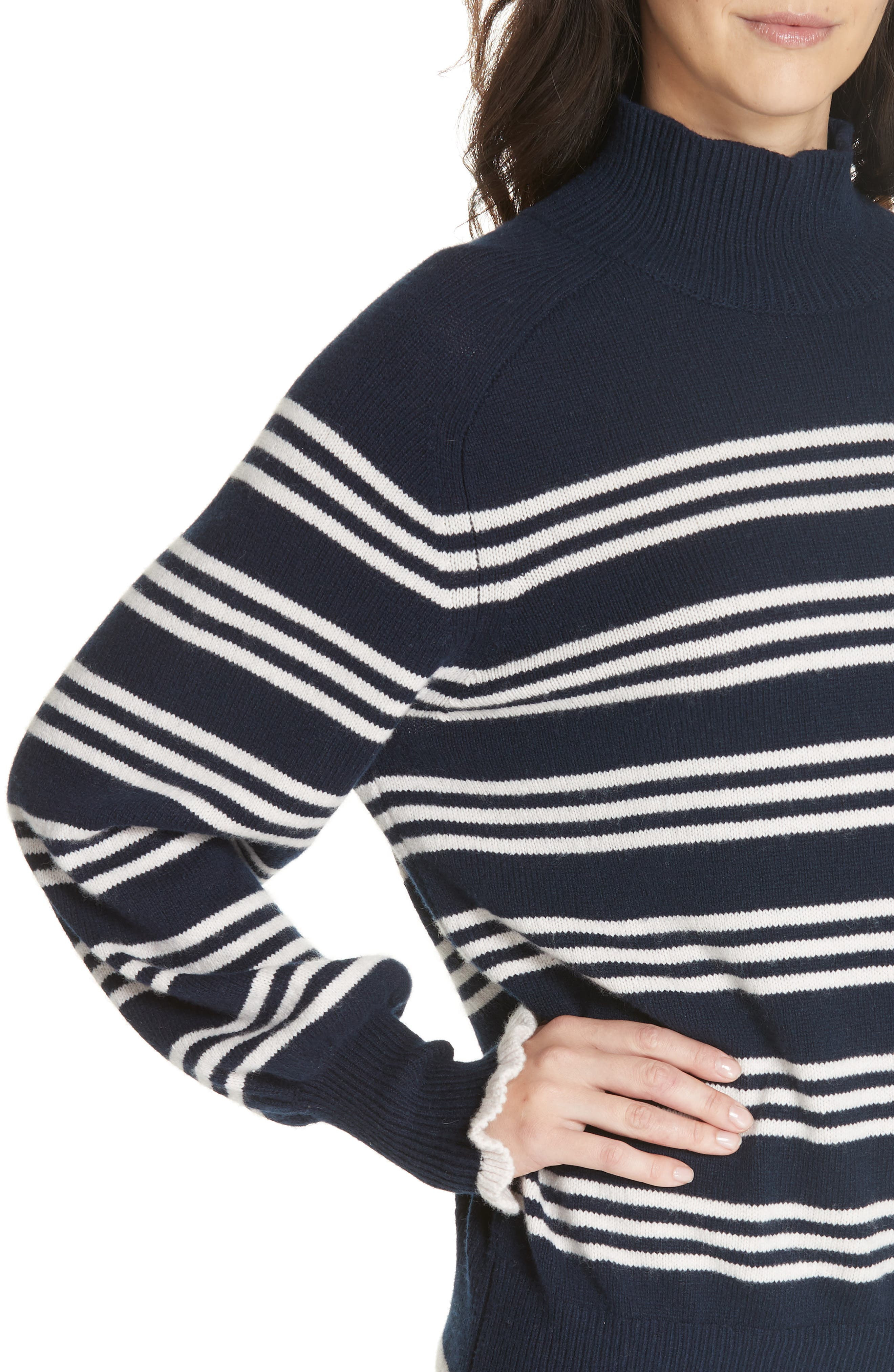 Striped Wool Cotton Blend Blouson Sleeve Sweater,                             Alternate thumbnail 4, color,                             NAVY COMBO