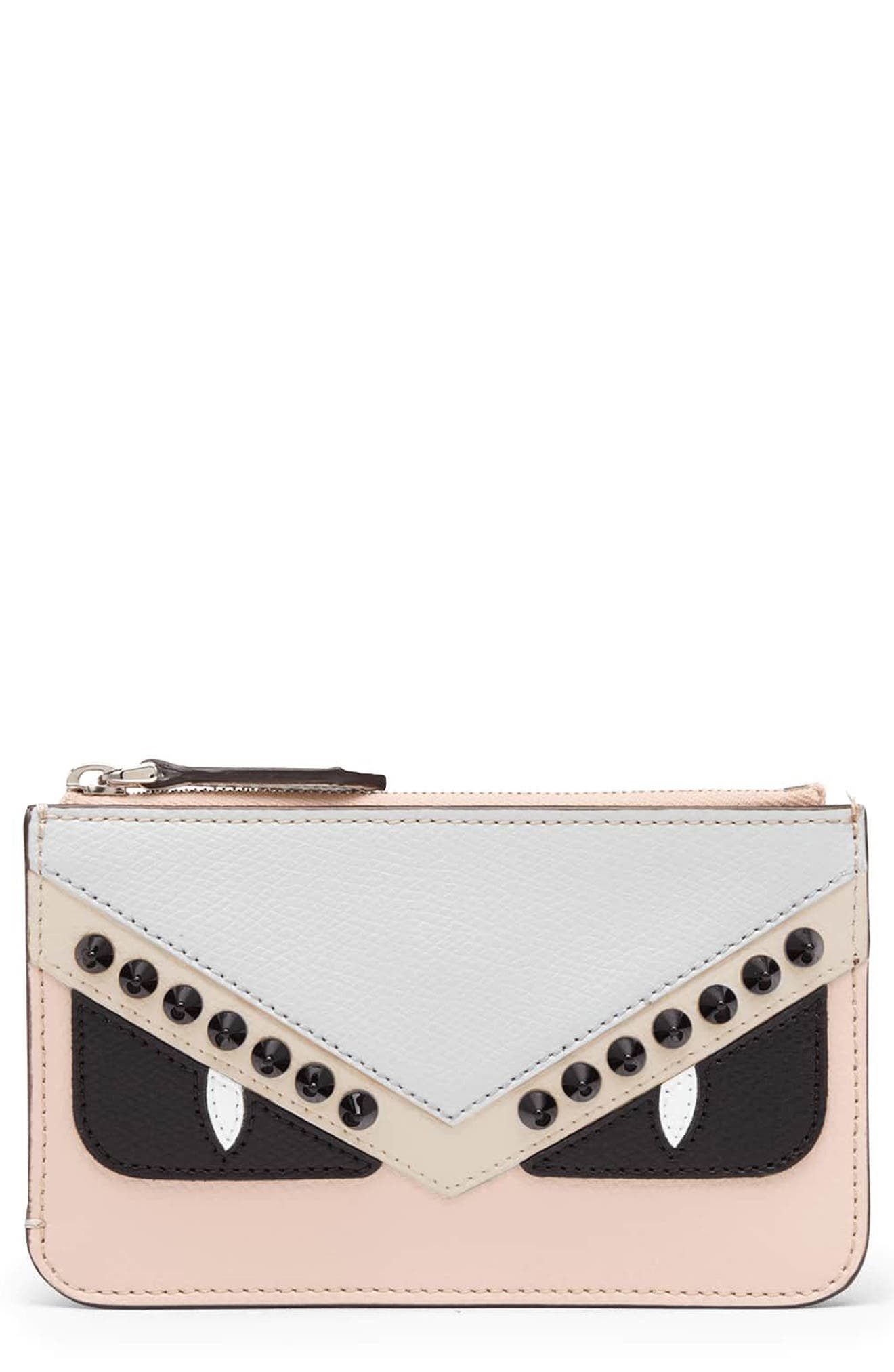 Monster Colorblock Leather Key Pouch,                             Main thumbnail 1, color,                             650