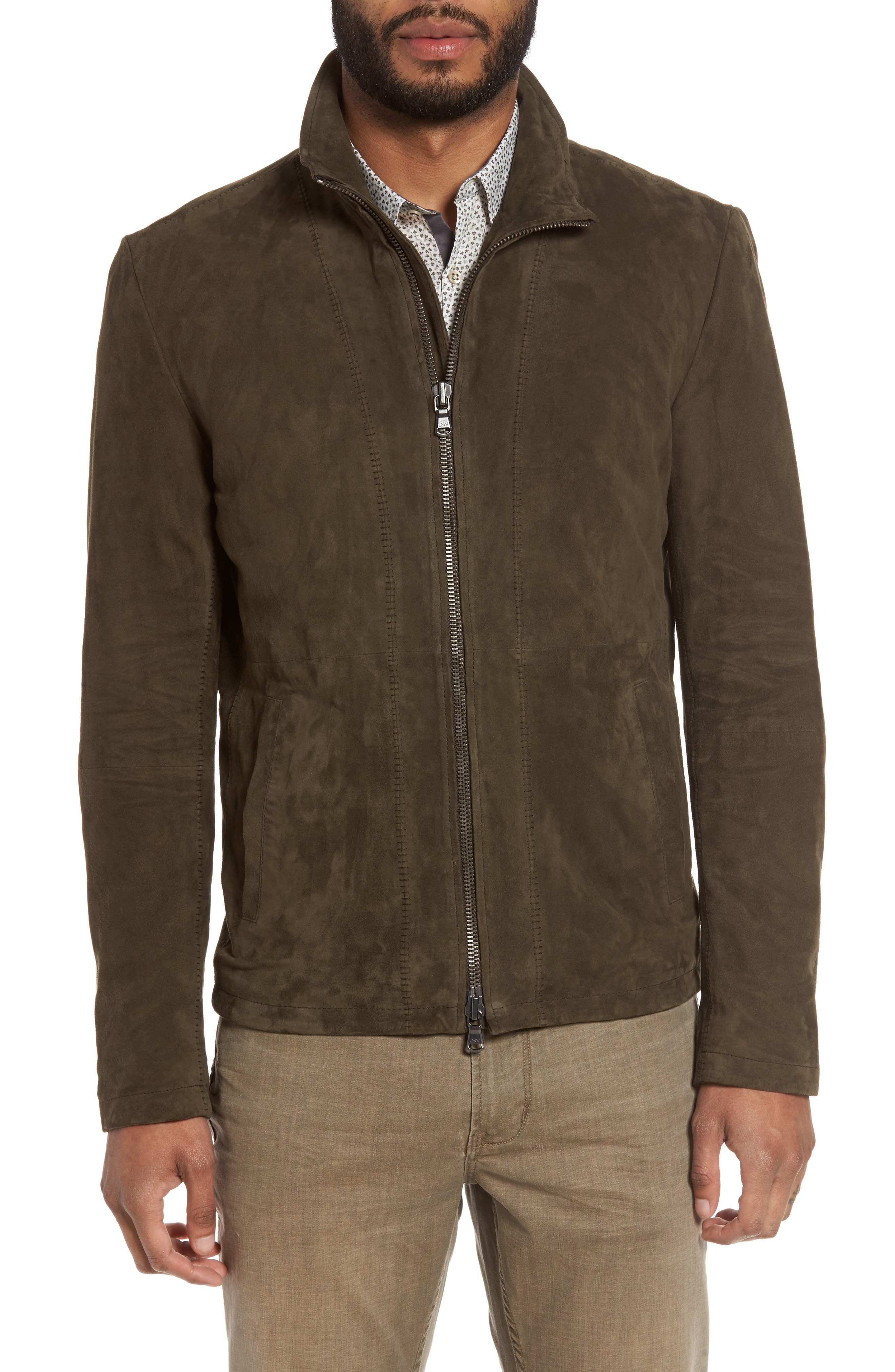 Zip Front Leather Jacket,                             Alternate thumbnail 4, color,                             307