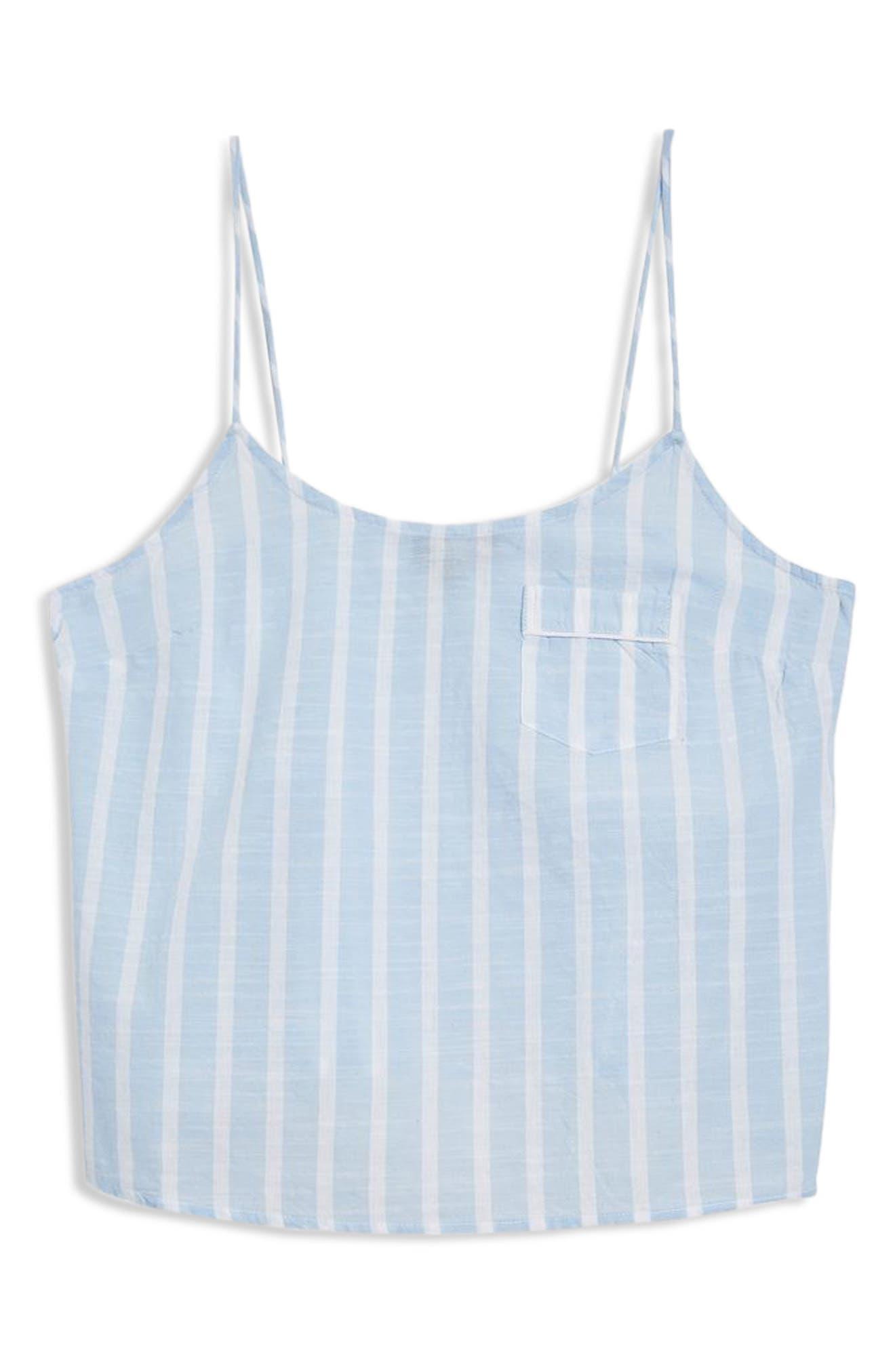 Stripe Camisole Pajama Top,                             Alternate thumbnail 3, color,                             LIGHT BLUE