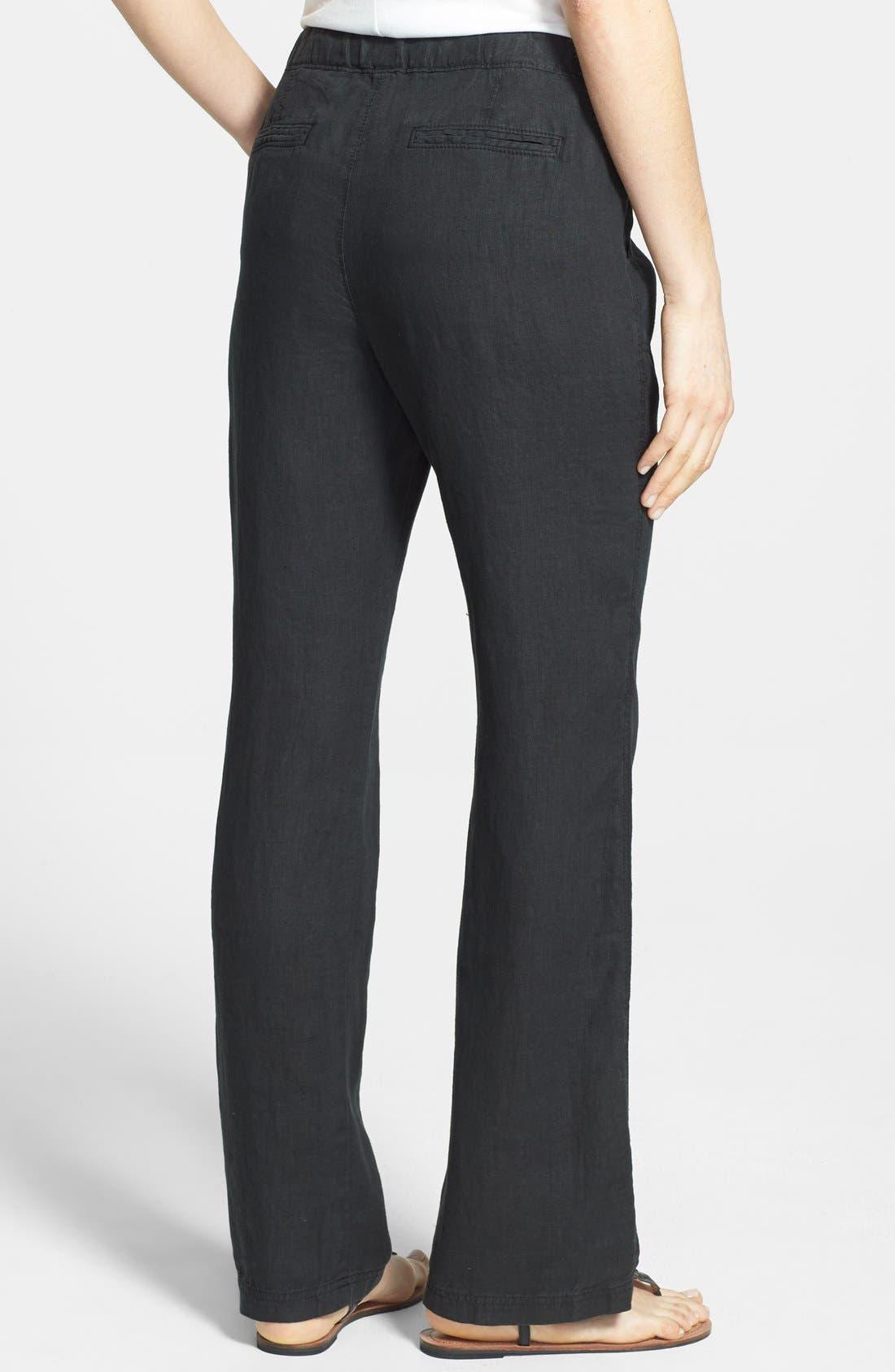 Drawstring Waist Linen Pants,                             Alternate thumbnail 3, color,                             001