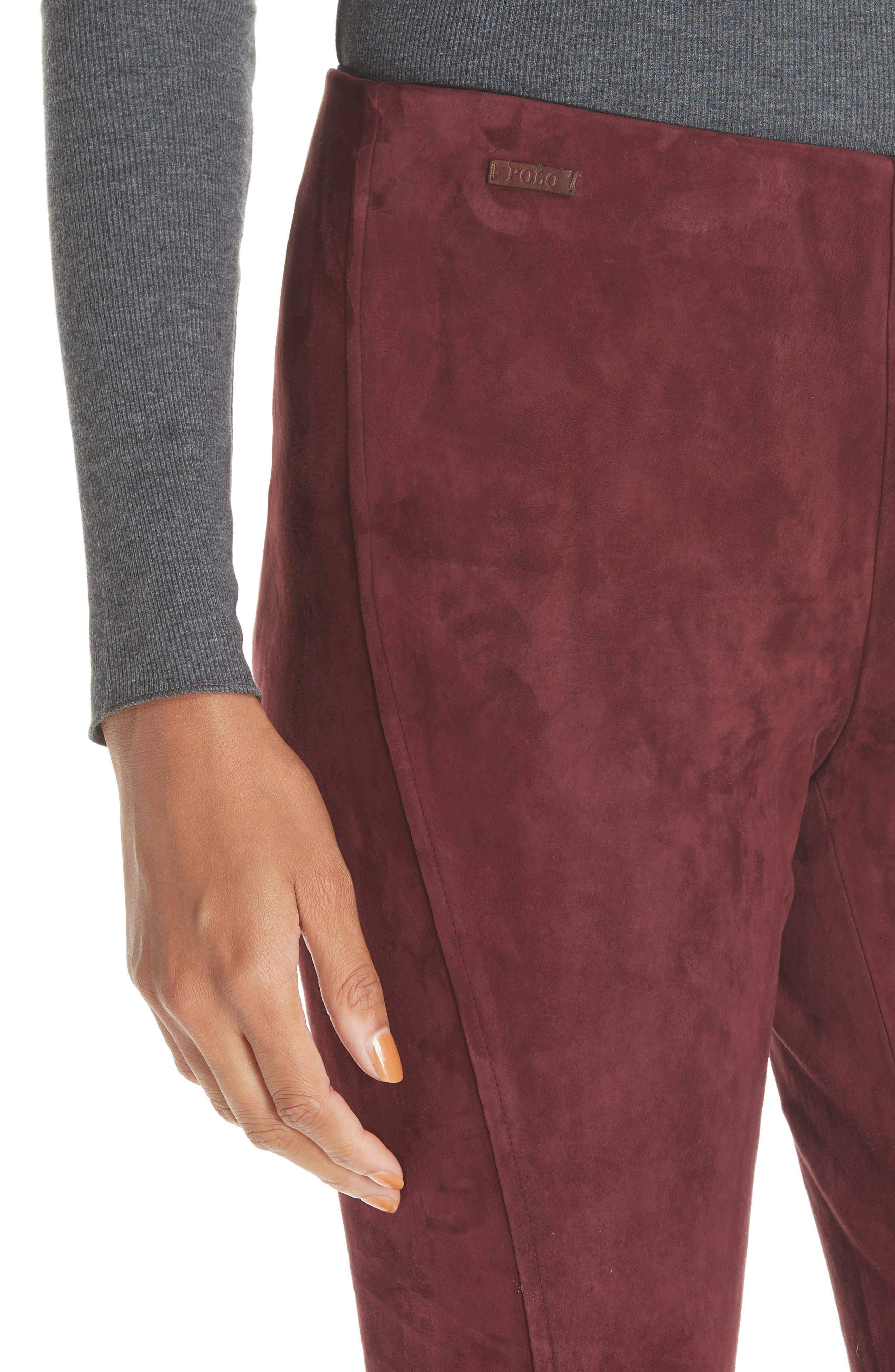 POLO RALPH LAUREN,                             Pull-On Skinny Suede Pants,                             Alternate thumbnail 4, color,                             930