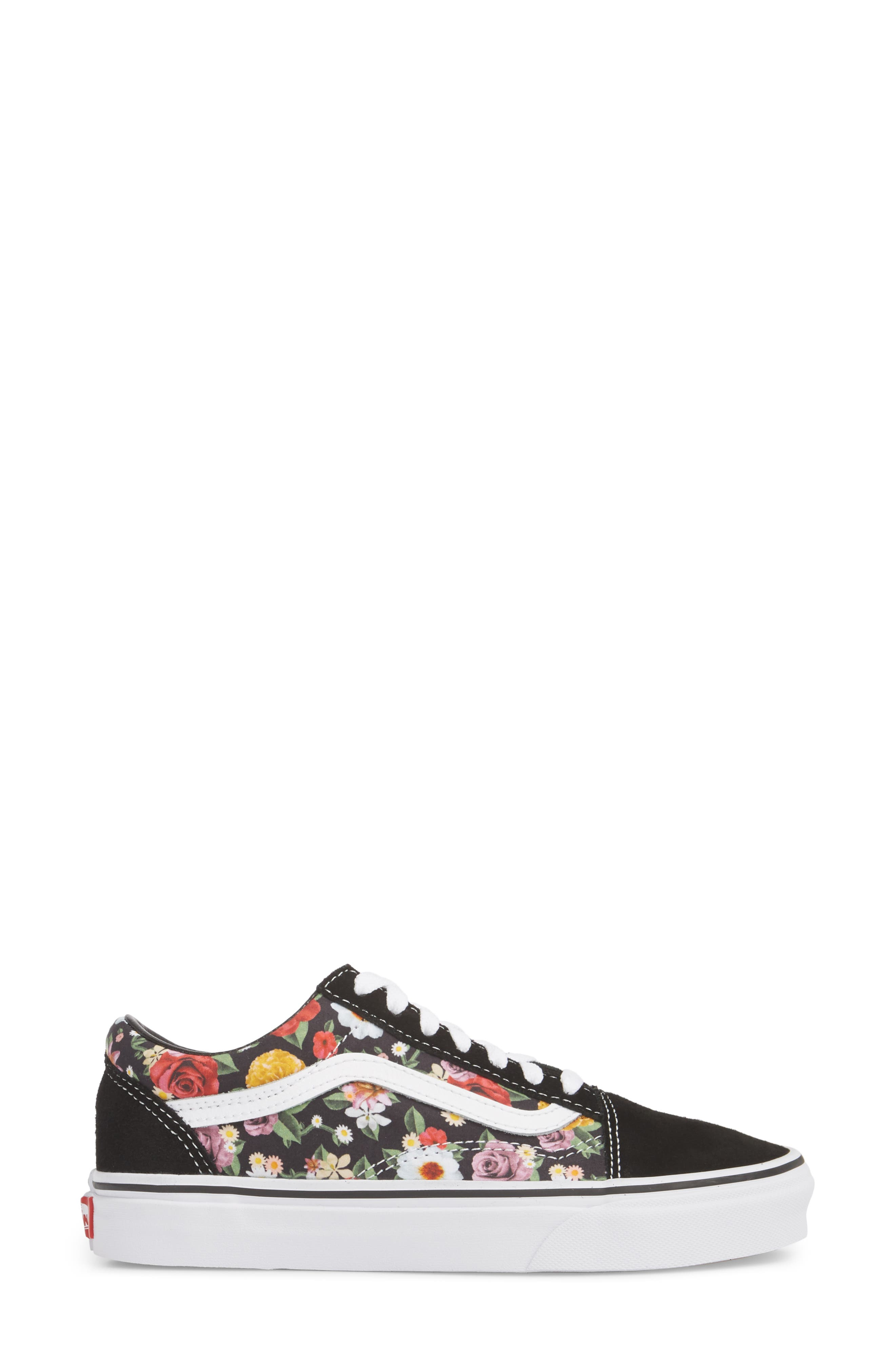 UA Old Skool Lux Floral Sneaker,                             Alternate thumbnail 3, color,                             001